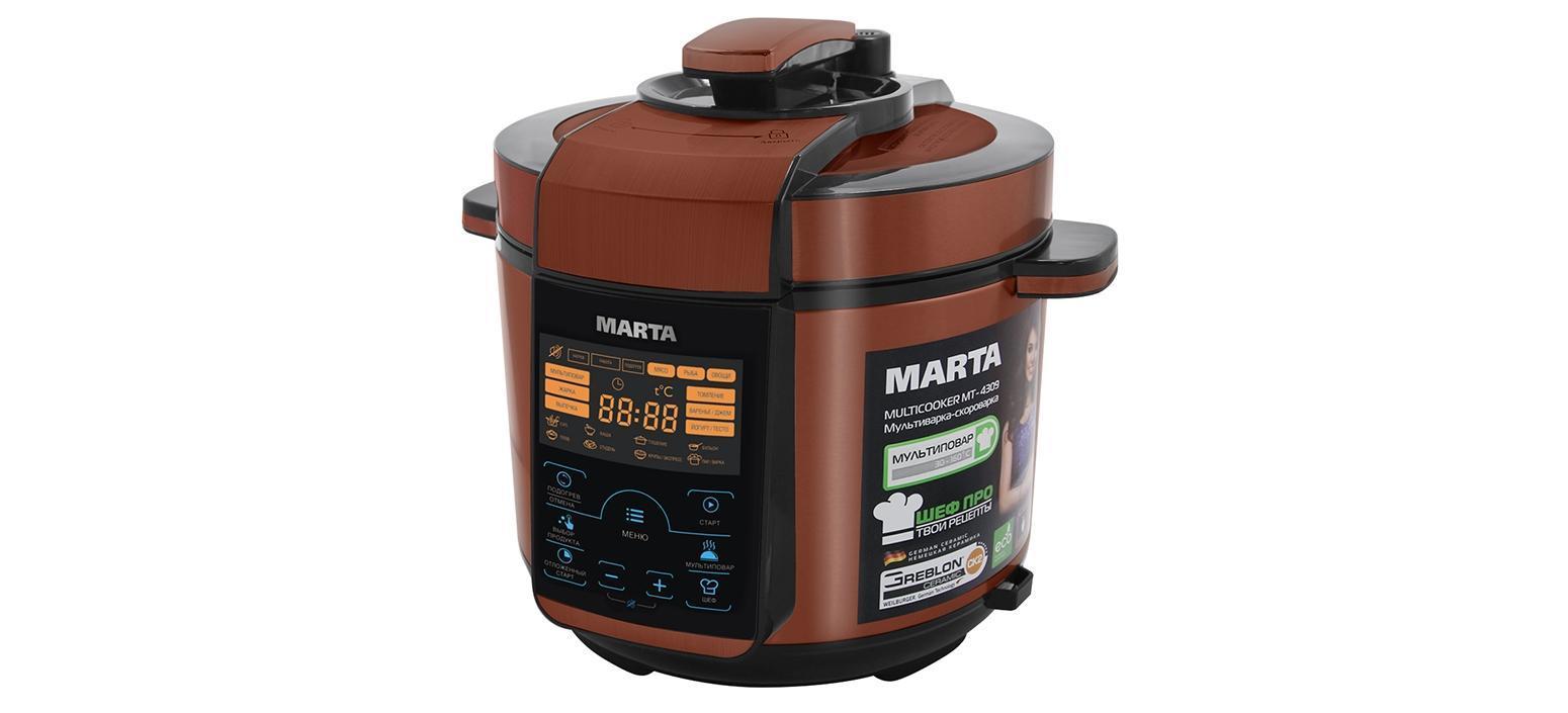Marta MT-4309, Black Red мультиваркаMT-4309MARTA представляет новую уникальную мультиварку-скороварку, обладающую совершенным дизайном и всеми возможными функциями. Это настоящий прибор 2 в 1 - мультиварка и скороварка! Он позволяет готовить с давлением и без давления. МАRТА МТ-4309 комплектуется ТОЛСТОСТЕННОЙ чашей с немецким керамическим покрытием GREBLON CK2. Главной особенностью модели МАRТА МТ-4309 является то, что это универсальное устройство, которое совмещает функции мультиварки и скороварки. В ней есть программы, которые используют технологию приготовления пищи под давлением, а есть программы, присущие простым мультиваркам, в которых приготовление происходит без давления. Ваше блюдо никогда не подгорит, сохранит свой вкус, аромат и витамины. СЕНСОРНОЕ управление позволит с легкостью управляться 45 программами приготовления, из которых 21 - полностью автоматическая: 15 работают в режиме скороварки, а 6 - в режиме мультиварки. Остальные 24 программы настраиваются вручную. А для ...