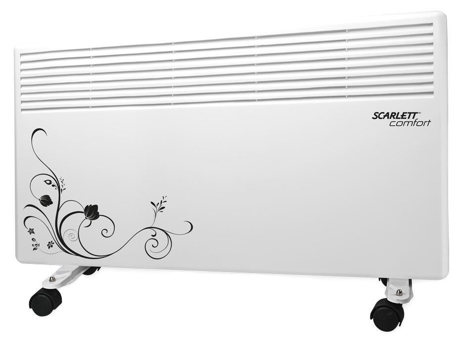 Scarlett SC-CH833/1500, White конвекторSC-CH833/1500Вся конструкция прибора направлена на равномерное распределение тепла для обогрева с максимальным комфортом. Режим No-Frost (антизамерзания) позволяет автоматически поддерживать плюсовую температуру в помещении. Конвектор работает по принципу естественной конвекции. Холодный воздух, проходя через конвектор и его нагревательный элемент, нагревается и выходит сквозь решетки-жалюзи, незамедлительно начиная обогревать помещение. Способен обогревать комнату площадью до 20 квадратных метров.