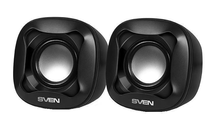Sven 170, Black акустическая система 2.0SV-013516Акустическая система 2.0 SVEN 170 – это громкий и качественный звук, интересный дизайн, и, что особенно приятно,– доступная и привлекательная цена. Колонки SVEN – отличное решение для школьников, студентов и специалистов, проводящих много времени в сети. Они занимают совсем мало места на столе, и при этом обеспечивают четкую и громкую звукопередачу. С акустикой SVEN общение по скайпу, обучение online, просмотр видеороликов будет настоящим удовольствием. Особенности Компактная конструкция Регулировка уровня громкости на кабеле Питание через USB-порт ПК, ноутбука или адаптер 5V DC Технические характеристики Выходная мощность (RMS), Вт 5 (2 х 2.5) Частотный диапазон, Гц 100 – 20 000 Размеры динамиков, мм O 45 Магнитное экранирование есть Напряжение питания USB/DC 5V Материал корпуса ABS-пластик
