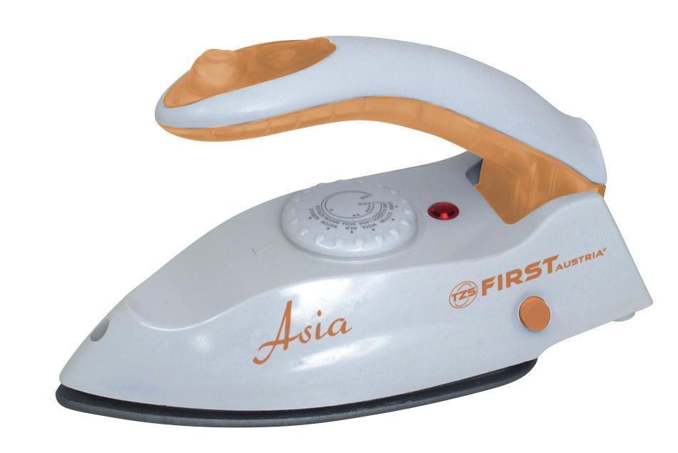 First FA-5640, Orange дорожный утюгFA-5640 Orange5640 Утюг дорожный FIRST, 1000 Вт, паровой, антипригарное, склад.ручка, Orange