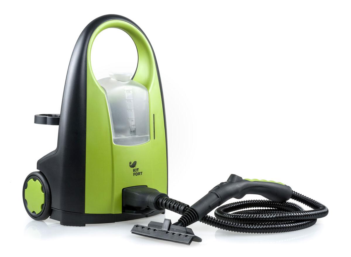 Kitfort KT-903 пароочистительKT-903Пароочиститель - многофункциональный аппарат, способный заменить моющий пылесос, дезинфектор, стеклоочиститель, отпариватель для тканей. Используя силу горячего пара, пароочиститель великолепно очищает любые поверхности и обеспечивает деликатную глажку вещей. Прибор очень удобен в использовании, и работа с ним не требует от пользователя каких-то особых навыков и умений. Устройство безопасно для здоровья человека и не приносит вреда окружающей среде. Горячий пар под давлением может удалять грязь, жир и известковые отложения с различных поверхностей, убивать патогенные микроорганизмы, бактерии и домашних клещей, которые могут вызывать аллергические реакции и астму. Сухой пар быстро испаряется, не оставляя следов влаги на поверхности. При очистке поверхностей паром не требуется применения химических чистящих средств, что улучшает экологию дома, и также позволяет сэкономить на покупке чистящих средств. КТ-903 имеет съёмный резервуар (бак) для воды, благодаря чему можно доливать воду в процессе работы, не прерывая подачу пара. Из резервуара вода подаётся в бойлер помпой (водяным насосом) высокого давления, поэтому в бойлере находится только необходимый для работы минимум воды. За счёт этого время разогрева составляет всего 2-3 мин. Пароочиститель оборудован съёмным паровым шлангом и панелью сзади для удобного хранения насадок. Имеется индикация готовности к работе и сигнализация отсутствия воды. Конструкция корпуса - вертикального типа, с удобной ручкой сверху и колёсиками для облегчения передвижения.