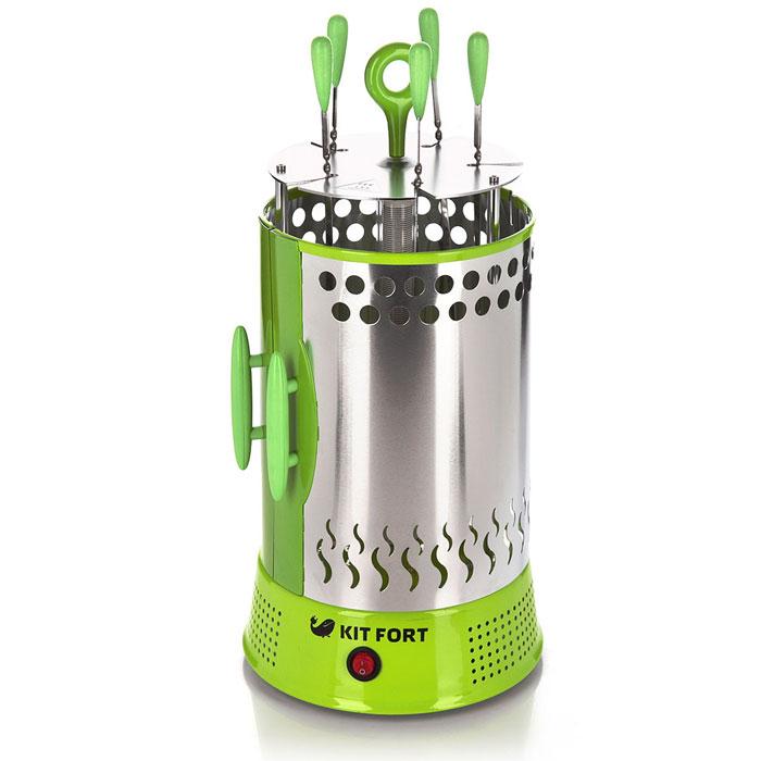 Kitfort KT-1402 электрошашлычницаKT-1402Простая и удобная в использовании электрошашлычница KITFORT KT-1402 работает от обычной розетки и позволяет приготовить шашлык, не выходя из собственного дома. Все, что требуется, это замариновать мясо, нанизать его на шампуры и установить их возле нагревательного элемента. Шашлык будет готов через 15-20 минут. Инфракрасный нагревательный элемент обеспечивает такой же нагрев, какой дают угли в обычном мангале, а шампуры автоматически вращаются, равномерно обжаривая мясо. Поэтому вкус шашлыка в электрической шашлычнице получается даже лучше, чем при традиционном приготовлении, причем без сажи, дыма и копоти. Пять шампуров позволяют приготовить за один раз до 1,5 кг шашлыка. Благодаря вертикальной конструкции, электрошашлычница KITFORT KT-1402 очень компактна и не занимает много места. Под каждым шампуром расположена специальная тарелочка, куда стекает жир. После приготовления эти тарелочки можно легко снять и вымыть. Кожух прибора раздвижной, поэтому его легко снимать и устанавливать, а шампуры оснащены удобными ручками из ненагревающегося материала, поэтому их можно брать руками, не боясь обжечься.