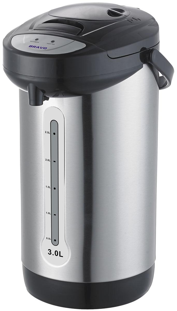 Bravo TL-30SE термопот4627090740232Мощность: 600 Вт Объем: 3 л Поворот на 360 гр Внутренняя емкость: нержавеющая сталь Подача воды: механический Поддержание температуры Защита от включения без воды Шкала уровня воды