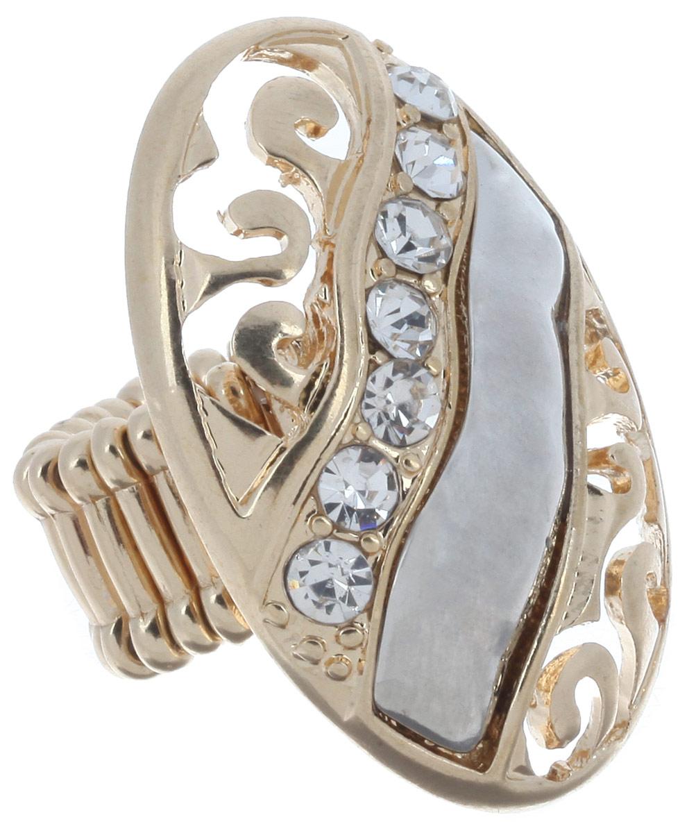 Кольцо Avgad, цвет: золотистый, серебристый. EA178JW308EA178JW308Оригинальное кольцо Avgad, изготовленное из ювелирного сплава, оформлено стразами и перфорированным узором. Элементы кольца соединены между собой при помощи тонкой резинки, благодаря которой изделие имеет универсальный размер. Его легко снимать и надевать. Это необычное украшение внесет изюминку в ваш модный образ, а также позволит выделиться среди окружающих.