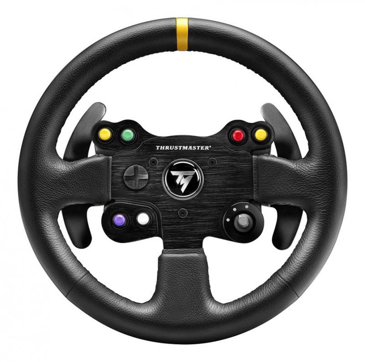 Thrustmaster TM Leather 28GT Wheel Add-On, Black руль4060057Съемный руль Thrustmaster TM Leather 28GT Wheel Add-On стиля GT, обтянутый простроченной вручную кожей. Совместимый со всеми рулевыми системами Thrustmaster T-Series (T300 RS / T300 Ferrari GTE / T500 RS / Ferrari F1 Wheel Integral T500 / TX Racing Wheel Ferrari 458 Italia Edition) Фирменное кожаное покрытие с ручной прострочкой по всей поверхности руля (реалистичное ощущение). Конструкция руля соответствует стандартам автомобильной отрасли и отличается полиуретановой заливкой (больший комфорт и упругое ощущение захвата) и внутренним стальным кольцом (в частности, для оптимальной передачи гоночных ощущений и эффектов силовой обратной связи).Диаметр 28 см Вес всего 1 кг! (суперчувствительная инерция и силовая обратная связь)Полный спектр гоночных регуляторов2 лепестковых переключателя на руле 6 удобных функциональных кнопок с четкими обозначениями 3-позиционный регулятор с нажимной кнопкой в центре Многопозиционная кнопка2 больших секвенционных переключателя-лепестка на рулеЗакрепленныые лепестки-переключатели перемещаются вместе с рулем 13 см в высоту Выполнены из шероховатого металла 2-мм толщины + металлическая краска Суперклассная тактовая кнопка (жизненный цикл более 10 миллионов включений)
