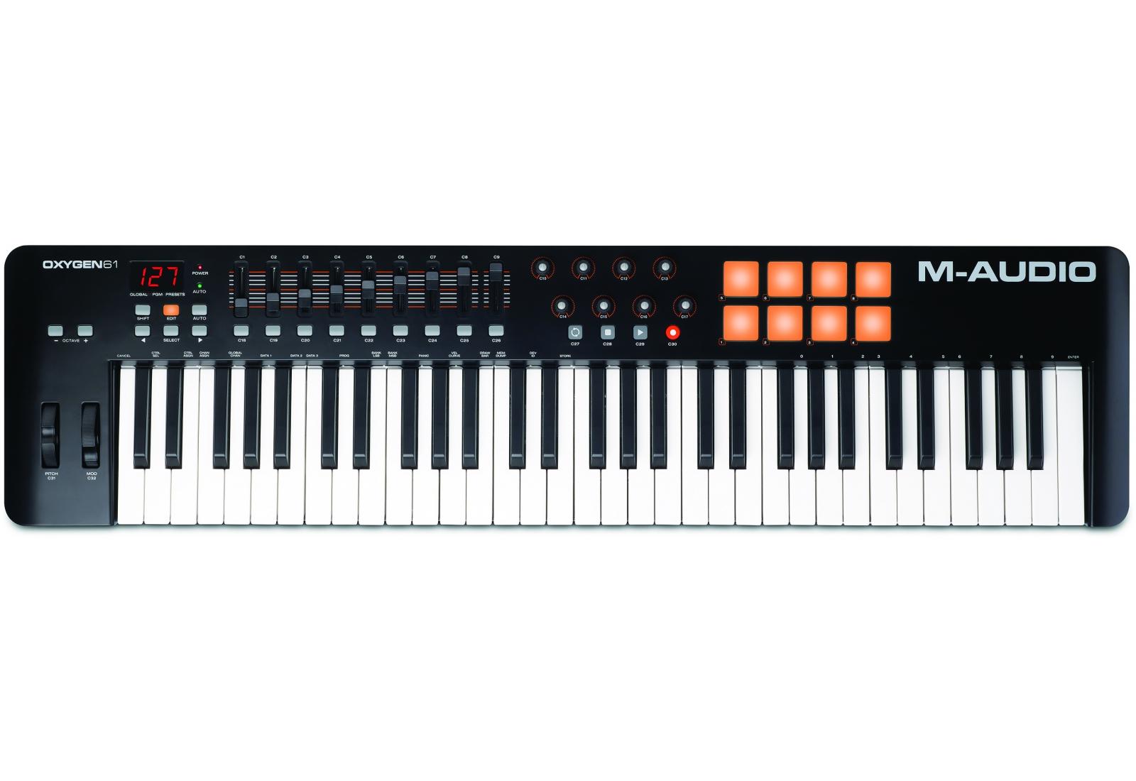 M-Audio Oxygen 61 IV Midi-клавиатураM-AudioM-Audio Oxygen 61 - новый MIDI-контроллер, принадлежащий серии Oxygen, представленной на выставке Musikmesse 2014. Он представляет собой модернизированную и усовершенствованную версию контроллераM-Audio Oxygen 61. Инженеры доработали электронику и механику оригинала, а также дополнили комплектацию устройства, расширив его потенциал.M-Audio Oxygen 61 комплектуется Ableton Live Lite - это одно из наиболее популярных программных обеспечений для профессиональных музыкантов. Эта программа отлично подходит как для студийной работы, так и для воспроизведения музыки в реальном времени. Ableton Live Lite позволяет спонтанно сочинять и записывать музыку, создавать миксы и семплы, редактировать музыкальные композиции в реальном времени. Программа умеет сохранять созданный трек или компоновать его с другими мелодиями.M-Audio Oxygen 61 поставляется также с виртуальными инструментами премиум классаSONiVOX Twist. SONiVOX Twist представляет собой VST/AU/RTAS и AAX спектральной морфинг-синтезатор. Twist имеет удобный и интуитивно понятный интерфейс. Параметры, наиболее ярко изменяющие звучание, выведены на больших размеров регуляторы. Синтезатор оснащен встроенным пошаговым секвенсором и встроенными эффектами.И более того, в комплект входит многотембральная рабочая станцияAIR Music Tech Xpand!2, которая предусматривает 4 активного звукового слота или партии через патч. Каждая партия обеспечена своим собственным миди каналом, зоной, арпеджиатором, модуляцией и эффектами - превосходный способ для создания индивидуальных партий. Используйте четыре партии вместе для построения одного изумительного патча и Xpand!2 раскроет Вам всю свою мощь. Специально для Вас команда AIR Music Tech тщательно создавала тысячу готовых к игре патчей от FM синтезаторов до сэмплов воспроизведенияОсновные особенности:61 полноразмерная клавиша, чувствительная к скорости нажатияЖК экранАвто-маппинг на популярные DAW: Ableton Live, Pro Tools, Logic, CubaseКомплектуется 