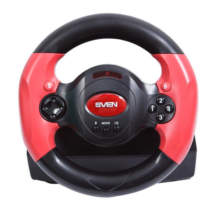 Sven Speedy рульSV-063001Модель Sven Speedy рассчитана, в первую очередь, на подростковую аудиторию, поэтому, если вы ищете подарок для своего ребенка, внимательнее присмотритесь к данной модели. Разработчики предусмотрели в Sven Speedy все нюансы для того, чтобы эффект участия в гонках был максимально реалистичным. Функция виброотдачи позволяет прочувствовать неровности дорожного покрытия, крутые повороты, резкие заносы и виражи. В комплекте присутствует блок педалей, дающий возможность регулировать скорость движения транспортного средства, как в настоящем автомобиле. Для удобства газ и тормоз представлены также в виде лепестков-переключателей, расположенных на тыльной стороне руля. Используя их, играющий способен управлять автомобилем только руками. Чтобы уверенно чувствовать себя на дороге, Sven Speedy можно зафиксировать на столе с помощью присосок, которые находятся на его основании. Резиновые вставки на ободе обеспечивают пользователю надежный контакт с манипулятором во...