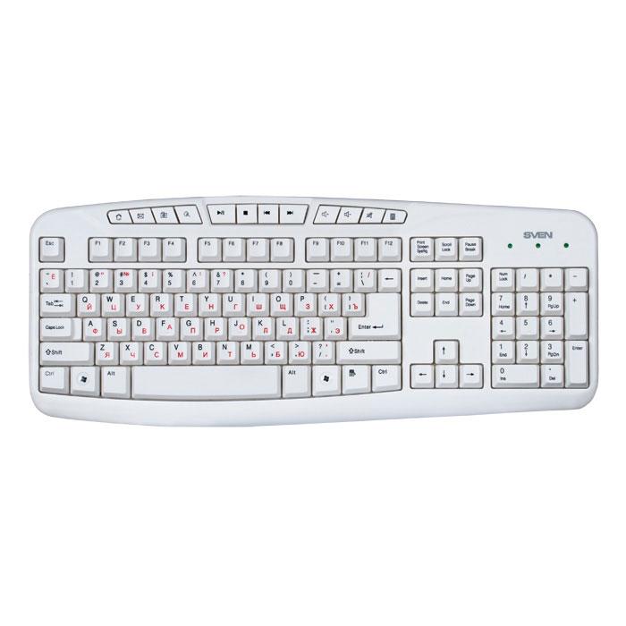 Sven Comfort 3050, White клавиатураSV-03103050UWSven Comfort 3050 рассчитана на тех, кто много времени проводит за компьютером. Конструкция клавиатуры разработана специально для того, чтобы максимально уменьшить нагрузку на руки. Двадцать первый век – это время развитых интернет-технологий и мобильной связи. Как ни странно, но мы уже не можем представить себя без компьютера. Используя его, мы работаем, организуем свой досуг, учимся и общаемся с целым миром! Мощность процессора и скорость обработки информации сегодня достигает огромных значений. Поэтому для эффективной работы со столь сложным механизмом необходим достойный орган управления. И он есть! При одном взгляде на обновленную линейку клавиатур Sven в голове звучит призыв: Почувствуй себя дирижером технического оркестра, управляй компьютером с легкостью и уверенностью в каждом движении Наработка на отказ: свыше 20 000 000 нажатий