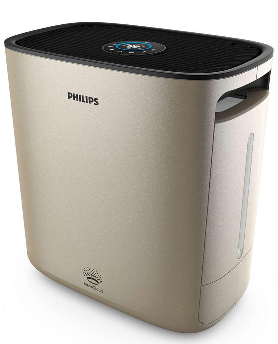 Philips HU5931/10 NanoClean, Champagne мойка воздухаHU5931/10Дышите чистым воздухом благодаря Philips NanoClean. Эффективная технология увлажнения NanoCloud и очищение на наноуровне с помощью фильтра Nano Protect предотвращают развитие симптомов аллергии, делая воздух более здоровым и свежим. Превосходное увлажнение благодаря технологии NanoCloud: Тройная защита от бактерий и плесени. Гигиеничность и безопасность технологии Philips NanoCloud подтверждена сертификатом. Доказанная эффективность: на 99 % меньше бактерий в воздухе по сравнению с ультразвуковыми увлажнителями. Эта технология защищает ваше здоровье в долгосрочной перспективе, обеспечивая чистый воздух, практически полностью очищенный от патогенных организмов и плесени. Невидимые частицы мелкодисперсного водяного пара, создаваемые технологией Philips NanoCloud, не оставляют белой пыли и мокрых пятен. Высокая эффективность увлажнения до 600 мл/ч. 4 точные настройки увлажнения, цветовая индикация: Технология Philips NanoCloud...