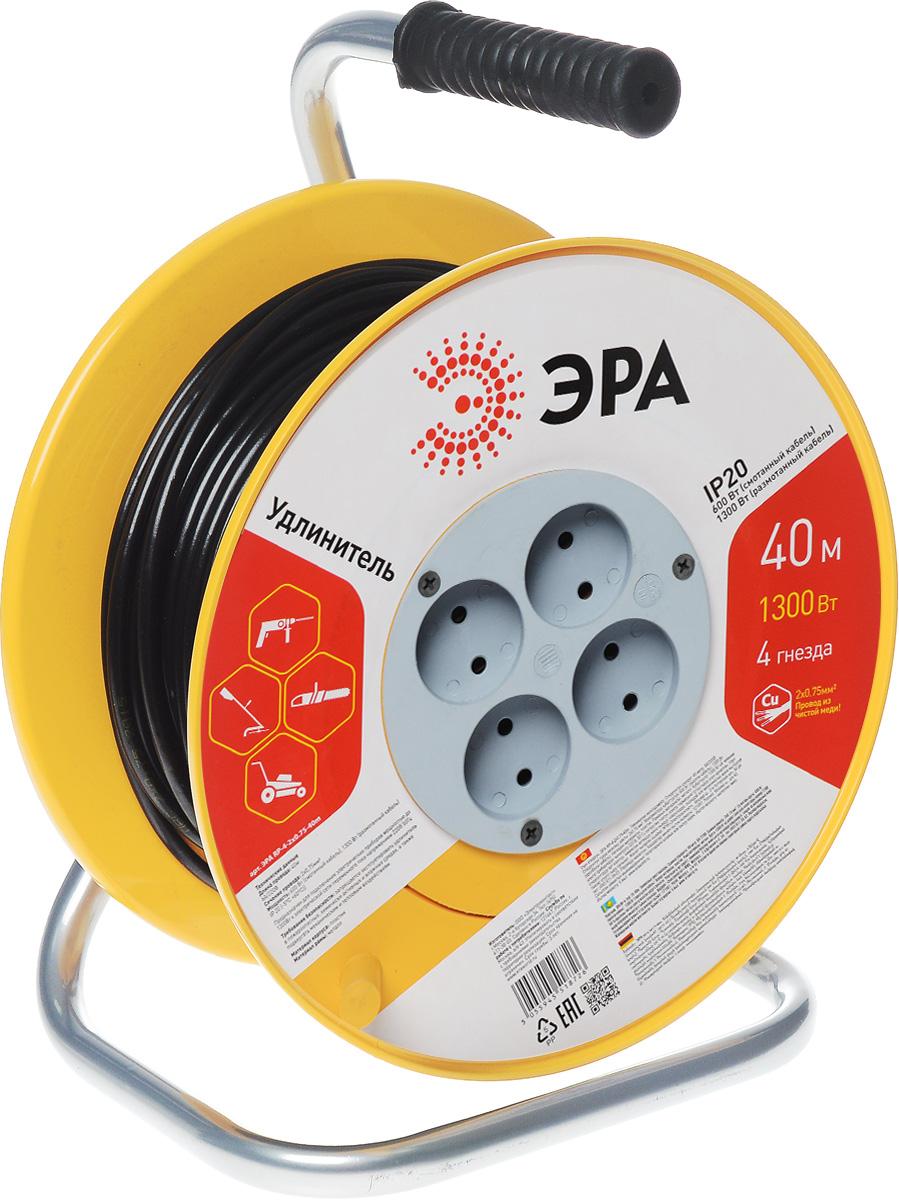 Удлинитель силовой ЭРА RP-4-2x0.75-40m, на катушке, 4 гнезда, 40 мRP-4-2x0.75-40mСиловой удлинитель ЭРА RP-4-2x0.75-40m предназначен для подключения электрических приборов мощностью до 1300 Вт к электрической сети переменного тока напряжением 220В 50Гц. Провод выполнен из чистой меди. Незаменим при строительных и ремонтных работах, когда приборы, требующие электропитание, расположены на удаленном расстояние от розетки. Можно использовать как дома, так и в гараже, на приусадебных участках. Технические характеристики: Сечение жилы провода: 0,75 мм2. Номинальное напряжение: 220В. Максимальное напряжение: 250В. Максимальная нагрузка с размотанным шнуром: 1300 Вт. Максимальная нагрузка со смотанным шнуром: 650 Вт. Наличие заземляющего контакта: нет. Температура эксплуатации: от +5°С до +40°С. Относительная влажность: не более 85%. Срок службы: 5 лет. Материал корпуса: полипропилен. Материал блока розеток: поликарбонат. Материал рамы: металл.