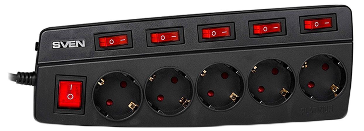 Sven Platinum 5 розеток, Black сетевой фильтр (3 м)SV-012960