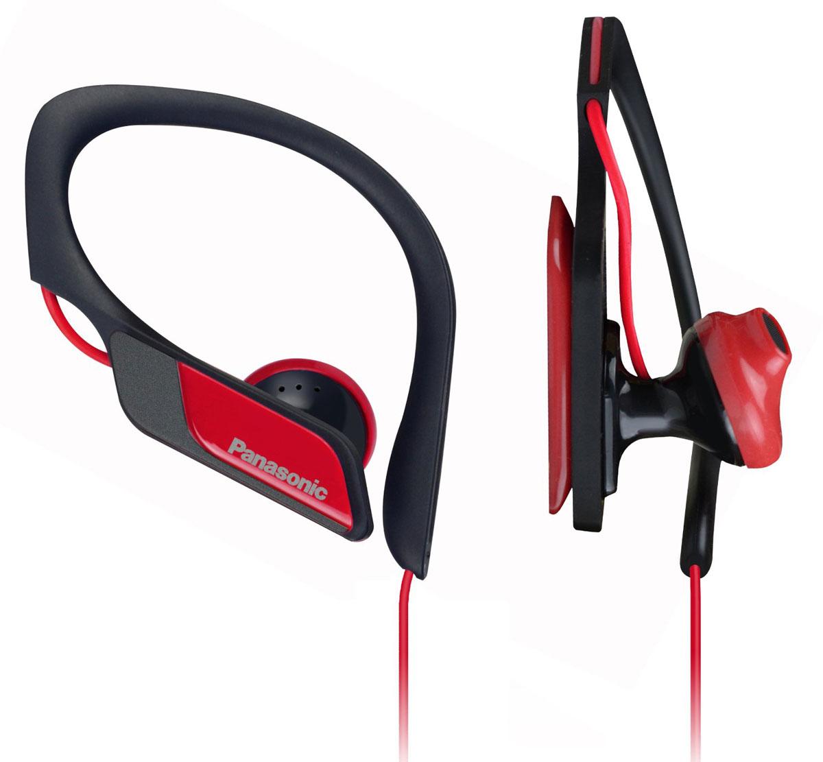 Panasonic RP-HS34E-R, Red наушникиRP-HS34E-RPanasonic RP-HS34E надёжно крепятся на ухе, а провод пропущен с задней стороны, поэтому наушники не сваливаются во время занятий спортом, а помехи сводятся к минимуму, что обеспечивает прекрасный звук. Благодаря своей водонепроницаемости они прекрасно подходят для занятий спортом. Зажим HS34 плотно крепится на ухе, а положение внутренней поверхности настраивается для комфортного использования. Разные цвета позволяют сочетать наушники со спортивным костюмом и обувью.