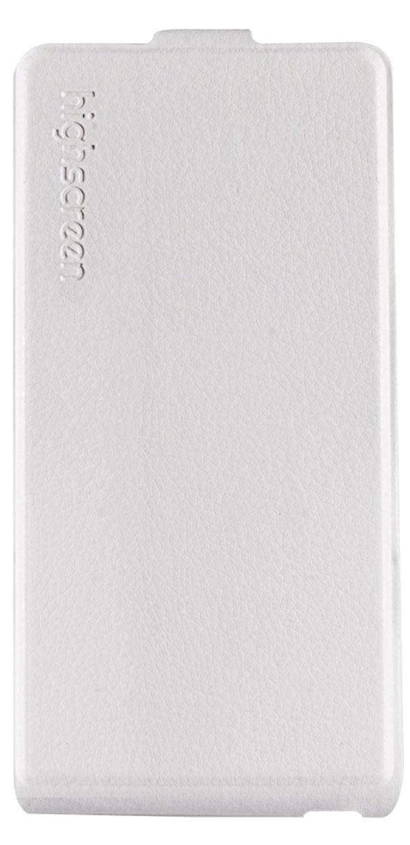 Highscreen Flip Case чехол для Power Five, White23016Чехол с откидной крышкой Highscreen Flip Case для Power Five надежно защищает ваш смартфон от внешних воздействий, грязи, пыли, брызг. Он также поможет при ударах и падениях, не позволив образоваться на корпусе царапинам и потертостям. Чехол обеспечивает свободный доступ ко всем функциональным кнопкам смартфона и камере.