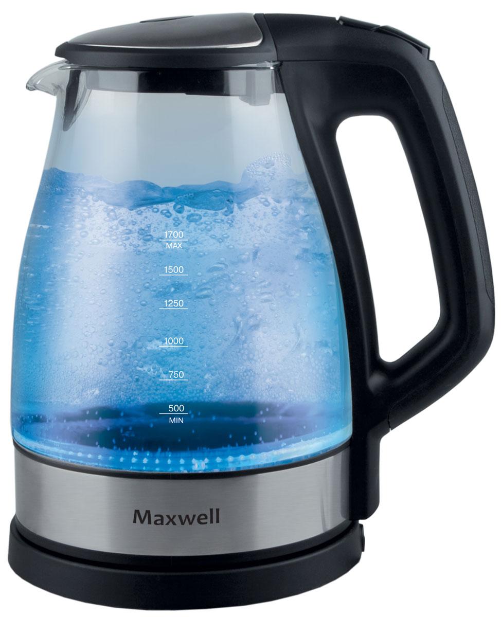 Maxwell MW-1075(ВК) электрический чайникMW-1075(BK)Корпус чайника Maxwell MW-1075 выполнен из стекла, не придающего посторонних привкусов воде, а потому вы насладитесь ароматом и насыщенным вкусом чая. Скрытый нагревательный элемент, индикация работы, подсветка, длинный сетевой шнур и блокировка работы техники при отсутствии воды в емкости - все это является неоспоримыми преимуществами этого устройства. Чайник Maxwell MW-1075 безопасен в использовании и автоматически отключается при закипании воды. Прибор выключается, когда воды в чайнике недостаточно. Он работает от электрической сети, поэтому потребность использования газовой плиты исключена, что особенно важно при их эксплуатации детьми. Пользоваться электрическим чайником Maxwell MW-1075 очень просто. Налив воды в емкость, вам достаточно установить чайник на специальную подставку и включить его. Спустя несколько секунд вы можете наливать чай и наслаждаться горячим напитком. Скрытый нагревательный элемент – плоское дно Материал фильтра -...