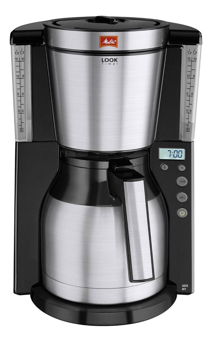 Melitta Look IV Therm Timer, Black кофеварка21264Новая Melitta LOOK Therm Timer впечатляет практичной функцией таймера. Свежесваренный кофе будет готов в то время, которое вы установите. Рассчитана на 10/15 чашек Размер кофейных фильтров Melitta 1x4 Цифровой дисплей с таймером Элегантные элементы из нержавеющей стали на держателе фильтра, ручке и крышке фильтра Программируемый уровень жесткости воды Запатентованный AromaSelector Противокапельная система Drip stop Небьющийся термо-кувшин удобно использовать одной рукой Прозрачная ёмкость для воды Протестировано на безопасность по правилам ОНЭ
