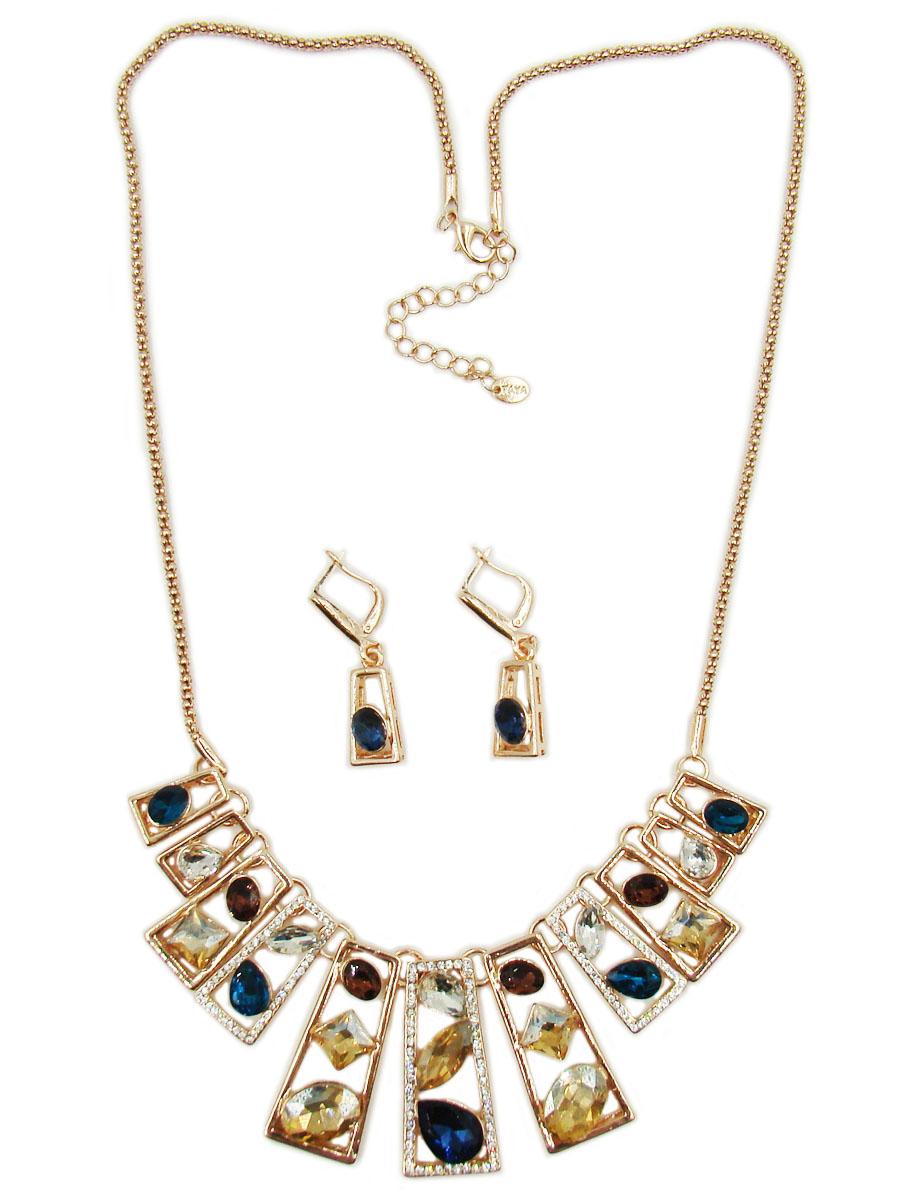 Комплект украшений Taya: колье, серьги, цвет: золотой, синий, бирюзовый. T-B-10258