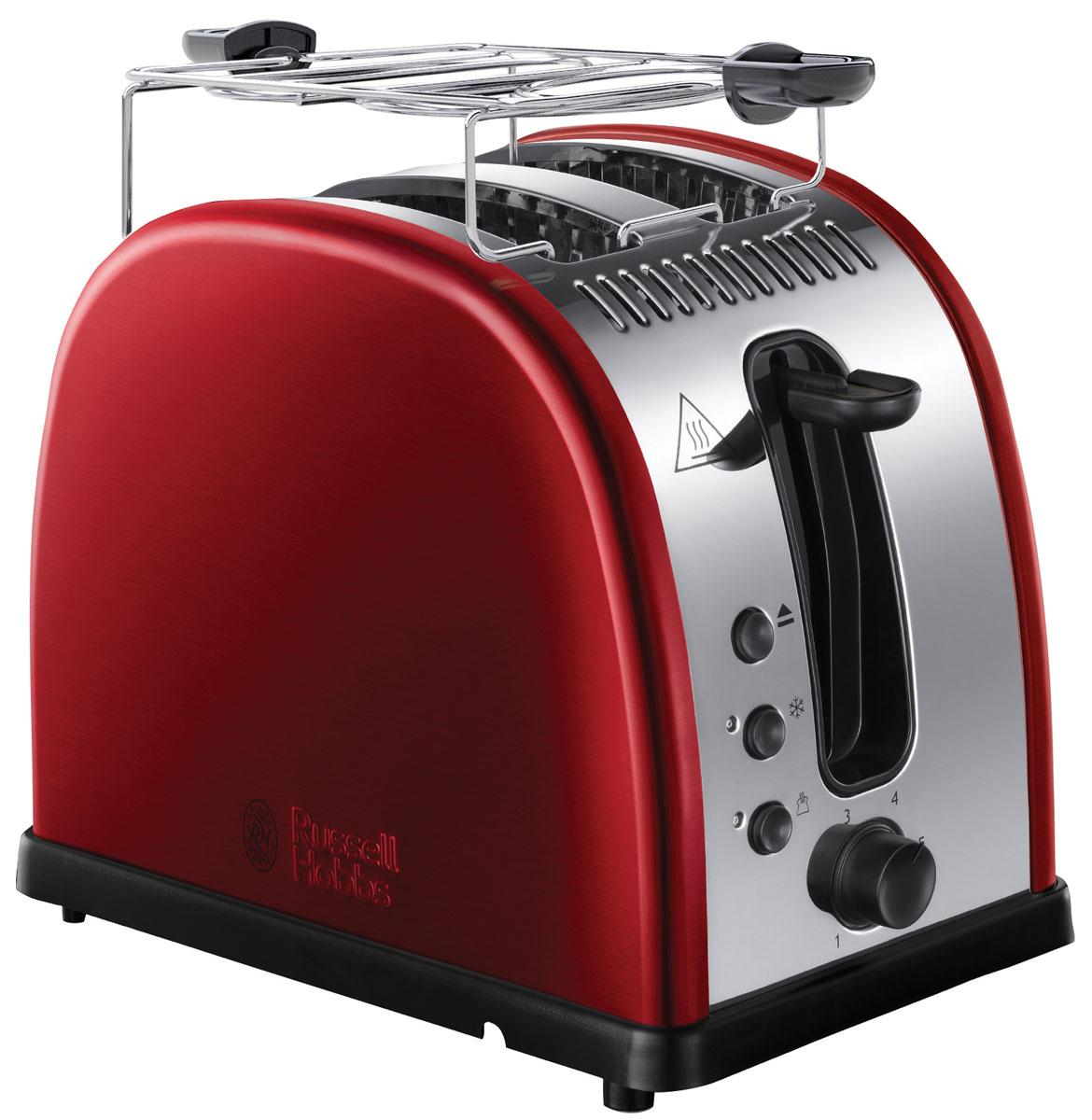 Russell Hobbs 21291-56, Red тостер21291-56Мало времени с утра и нет возможности долго готовить любимые тосты? Вам понравится новый тостер Russell Hobbs 21291-56 с системой быстрого (до 55%) приготовления тостов. Поджаренные ломтики хлеба, так как вы их любите, будут готовы быстро и идеально. Широкие слоты позволят приготовить ломтики различной толщины или другие типы хлеба, допустим, булочки.Тостер Russell Hobbs 21291-56 также обладает функцией разморозки, разогрева и принудительной отмены программы приготовления. Прибор обладает специальным дизайном решетки для разогрева и будет прекрасным подарком для всех любителей поджаренных ломтиков. Решетка для разогрева также поможет сохранить температуру приготовленных ломтиков.
