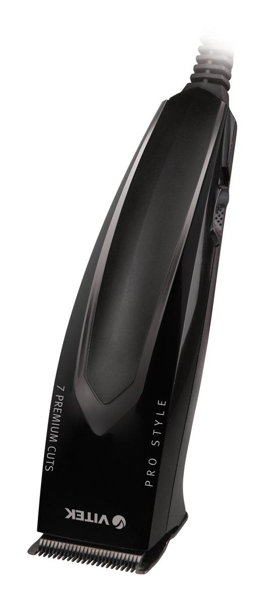 Vitek VT-2518, Black набор для стрижкиVT-2518(BK)На создание мужских причесок, порой, уходит не один час. Сэкономить время и упростить процесс можно, используя удобные и функциональный набор для стрижки Vitek VT-2518. Высокое качество, надежность, простота использования, эргономичность корпуса и дополнительные аксессуары превратят создание стильной мужской прически в приятное и увлекательное занятие. Длина провода: 1,8 м Материал лезвий: высококачественная сталь Низкий уровень вибрации и шума