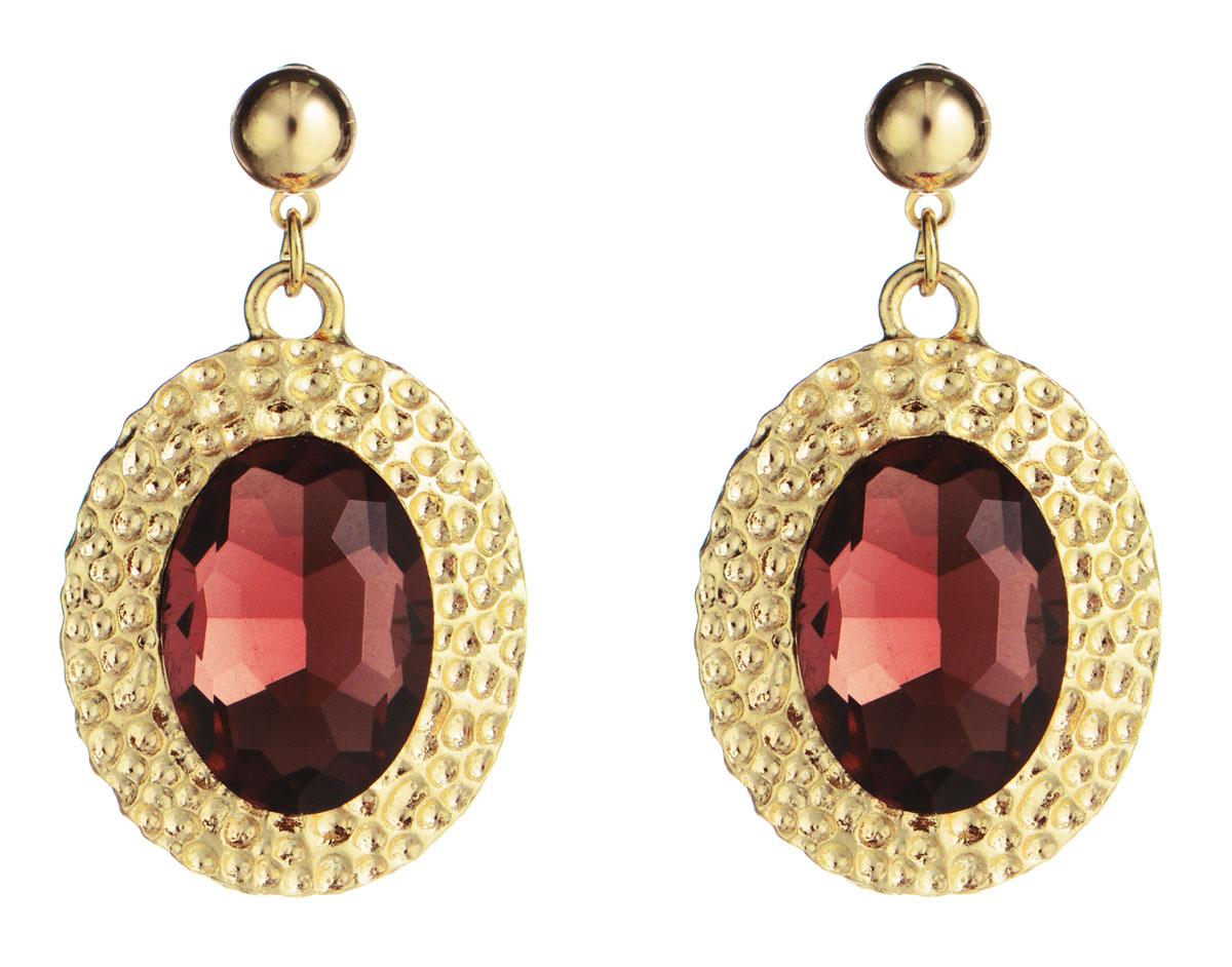 Серьги Taya, цвет: бордово-розовый, золотой. T-B-778T-B-7785-EARR-ROSEЭлегантные серьги Taya выполнены из бижутерийного сплава с оригинальной фактурой, оформлены вставками из граненых камней. Серьги застегиваются на практичный замок-гвоздик с фиксаторами из металла. Оригинальные серьги придадут вашему образу изюминку, подчеркнут индивидуальность.