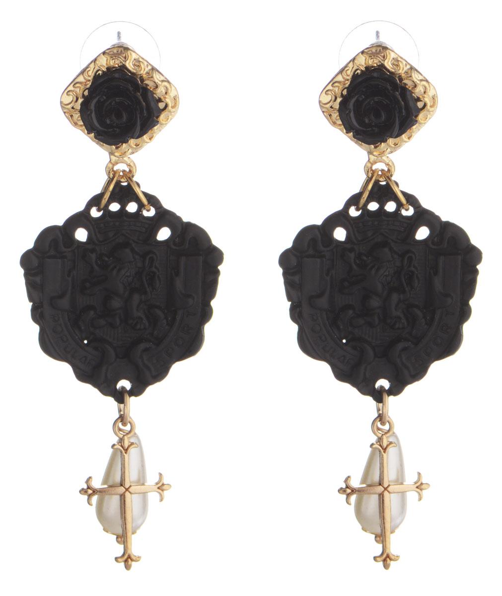 Серьги Taya, цвет: золотистый, черный, белый. T-B-9779T-B-9779-EARR-GL.BLACKЭлегантные серьги Taya выполнены из бижутерийного сплава. Основание сережек выполнено в виде розочек. Изделие дополнено подвесками в форме гербов, а также искусственными жемчужинами каплевидных форм и крестиками. Серьги застегиваются на практичный замок-гвоздик с фиксаторами из металла и пластика. Оригинальные серьги придадут вашему образу изюминку, подчеркнут индивидуальность.
