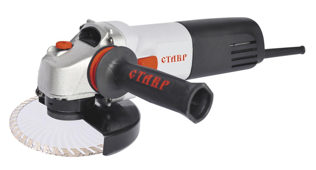 Машина шлифовальная угловая Ставр МШУ-125/900 Мст125-900мКомплектация: защитный кожух, ключ для фланца,угольные щетки (компле