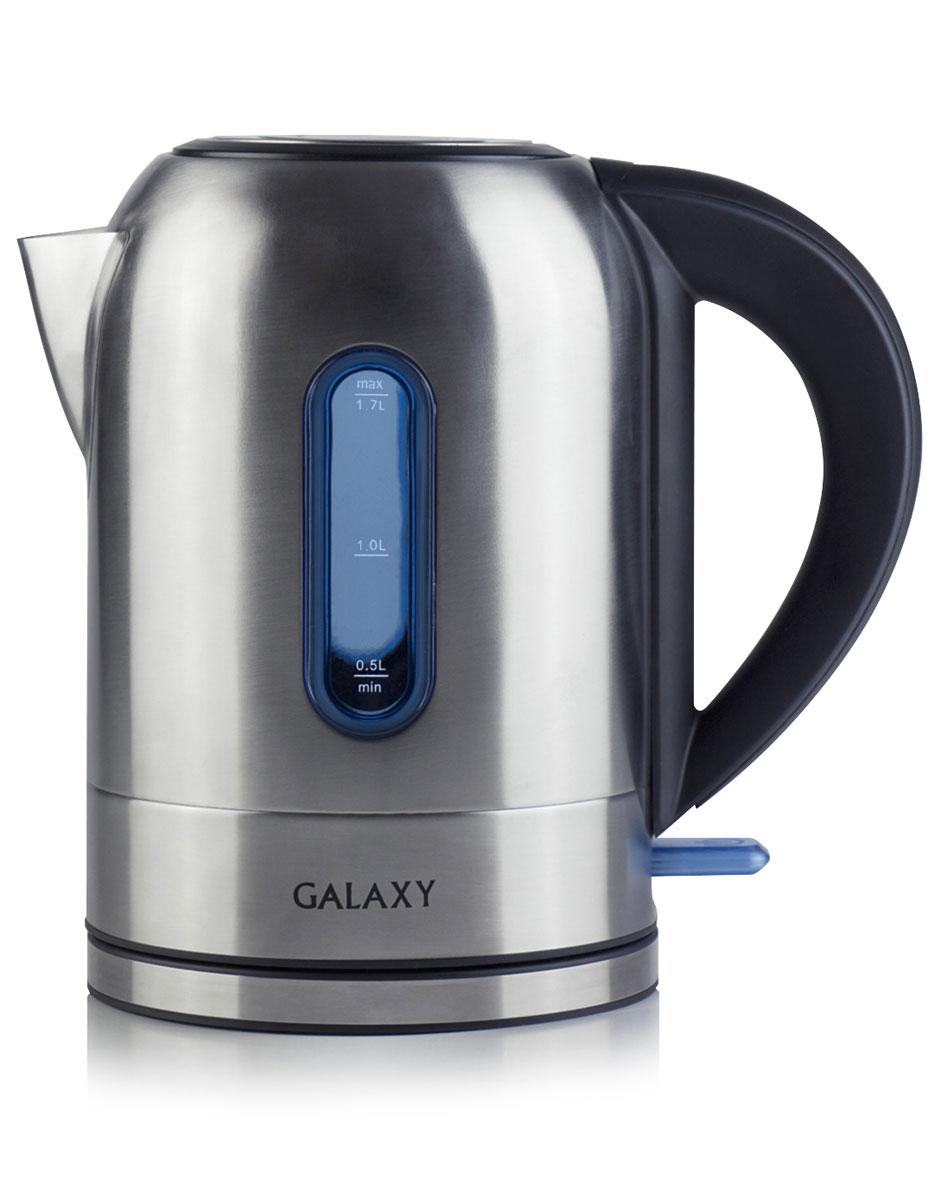 Galaxy GL0315, Grey электрочайник4650067301570Электрочайник Galaxy GL0315 изготовлен из высококачественной нержавеющей стали. Корпус из стали долговечен, не подвергается коррозии и обладает антиаллергенными свойствами. Благодаря мощности в 2200 Вт и нагревательному элементу скрытого типа быстро вскипятит воду объемом до 1,7 литров. Данная модель оснащена световым индикатором включения/выключения и шкалой уровня воды. Цоколь с центральным контактом позволяет поворачивать прибор на 360°. В целях безопасности имеются функции блокировки включения без воды и автоматического отключения при закипании. Скрытый нагревательный элемент Мерная шкала