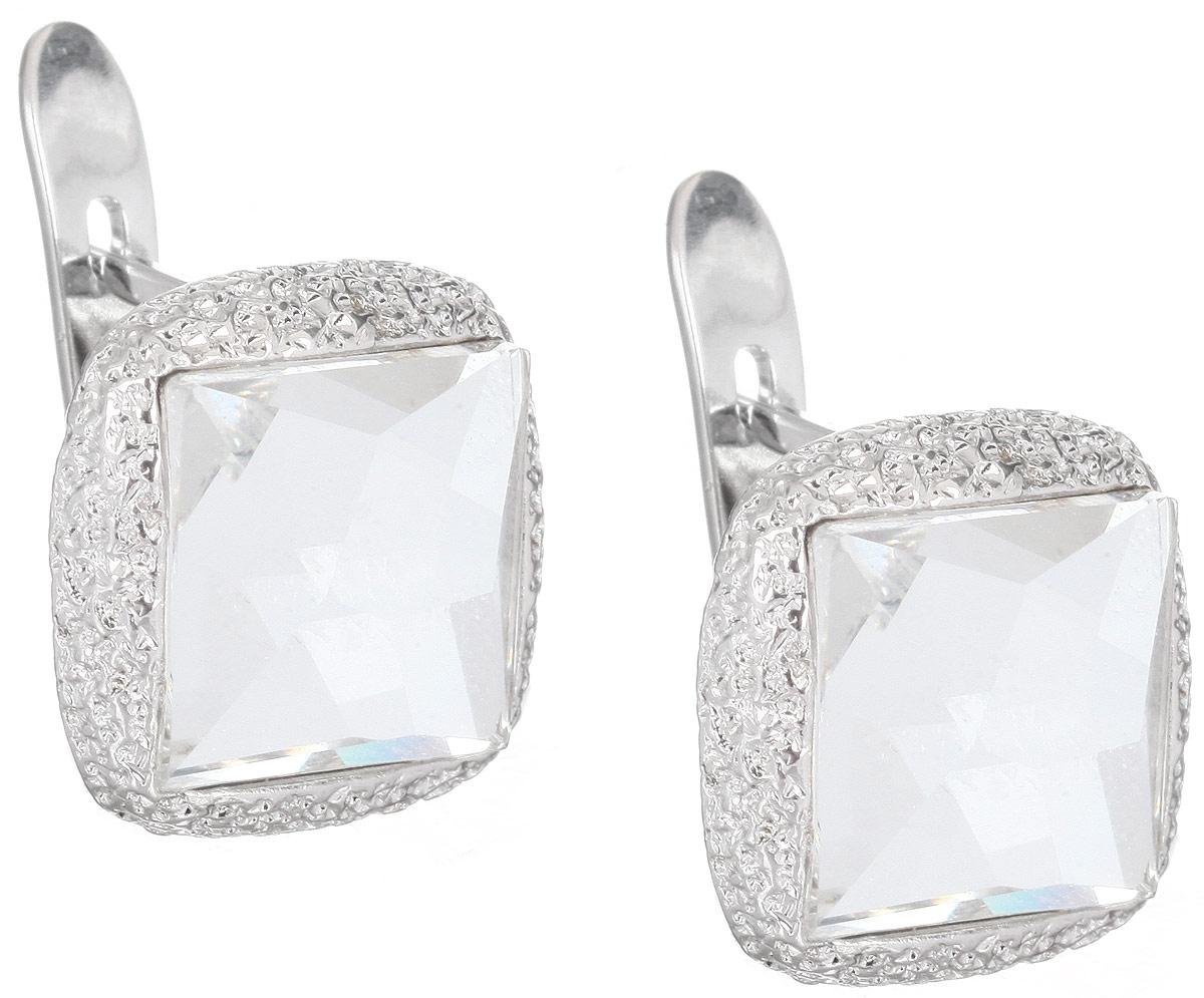 Серьги Jenavi Алудра, цвет: серебряный, белый. b833f100Серьги с подвескамиСтильные серьги Jenavi Алудра выполнены в виде основы из гипоаллергенного ювелирного сплава, которая дополнена кристаллами Swarovski.В качестве основания используется классический английский замок, который надежно зафиксирует сережку.Оригинальные серьги Jenavi Алудра помогут дополнить любой образ и привнести в него завершающий яркий штрих.