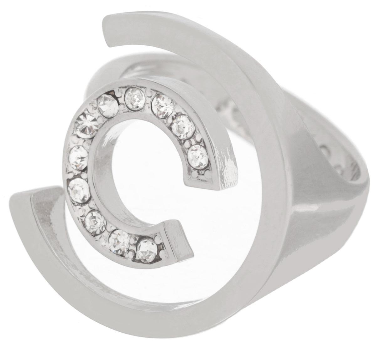 Кольцо Jenavi Форцетия, цвет: серебряный, белый. f506f000. Размер 17Коктейльное кольцоОригинальное кольцо Jenavi Форцетия изготовлено из антиаллергического ювелирного сплава с покрытием серебром и родием. Декоративный элемент выполнен в виде двух полуокружностей разного размера, одна из которых инкрустирована гранеными кристаллами Swarovski.Стильное кольцо придаст вашему образу изюминку, подчеркнет индивидуальность.