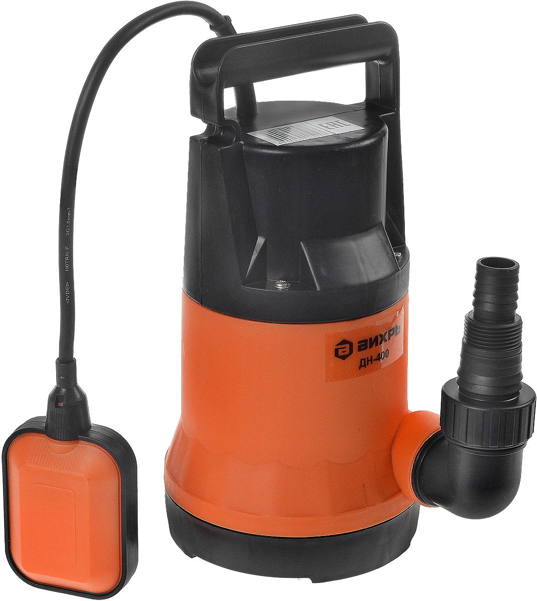 Дренажный насос Вихрь ДН-400 оранжевый68/2/1Дренажный насос Вихрь ДН-400 предназначен для перекачки чистых, дождевых, дренажных и грунтовых вод. Насос может использоваться для орошения или подачи воды из колодцев, открытых водоемов и других источников.