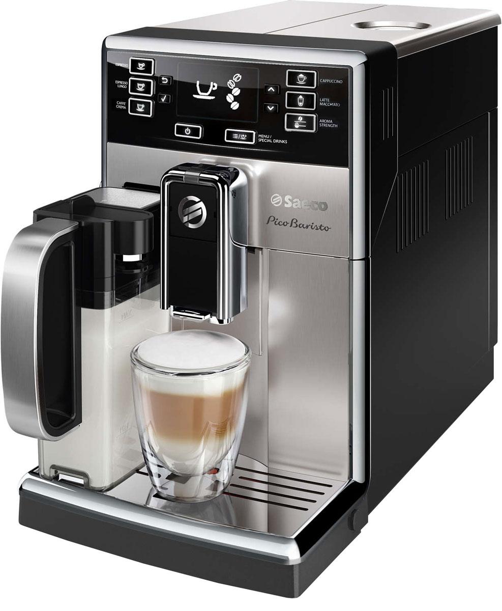 Philips Saeco HD8928/09 PicoBaristo кофемашинаHD8928/09PicoBaristo — компактная кофемашина премиум-класса, позволяющая ценителям кофе готовить самые разнообразные напитки. Удобный интерфейс обеспечивает удобный выбор любого из множества рецептов одним нажатием. Благодаря фильтру AquaClean можно приготовить 5000 чашек, не выполняя очистку от накипи.5000 чашек кофе без очистки от накипи благодаря фильтру AquaClean:Запатентованный фильтр AquaClean обеспечивает максимально эффективное использование кофемашины Saeco. Меняйте фильтр каждые 3 месяца, чтобы всегда использовать чистую воду без примесей. Забудьте о необходимости проведения очистки от накипи во время приготовления 5000 чашек кофе (при использовании чашек объемом 0,1 л и 8 сменных фильтров).Быстрый нагрев бойлера для горячего кофе:Благодаря быстрому нагреву бойлера нет причины отказывать себе в чашке превосходного эспрессо или капучино, даже если вы спешите на важную встречу. Секрет заключается в легком корпусе бойлера, выполненном из алюминия и нержавеющей стали, который быстро нагревается до высокой температуры.Кофемашина запоминает выбранную вами крепость кофе:Выберите один из пяти уровней крепости, объем и температуру. С помощью функции памяти сохраните нужный объем для каждого напитка. Кофемашина запомнит выбранные настройки, и вы всегда будете наслаждаться напитком нужного объема, приготовленным так, как нравится именно вам.100% керамические жернова помогут раскрыть вкус зерен:Надежные 100% керамические жернова гарантируют наслаждение отличным кофе в течение долгих лет. Керамика обеспечивает идеальный помол зерен, благодаря чему вода равномерно проникает в них, впитывая вкус и аромат. В отличие от обычных, керамические жернова не перегревают зерна и устраняют жженый привкус напитка.10 степеней помола для оптимальной насыщенности вкуса кофе:Эта кофемашина удовлетворит даже самые взыскательные требования к помолу кофе. Чтобы вкус кофе раскрылся по-настоящему, для каждого сорта нужно подобрать подходящую сте