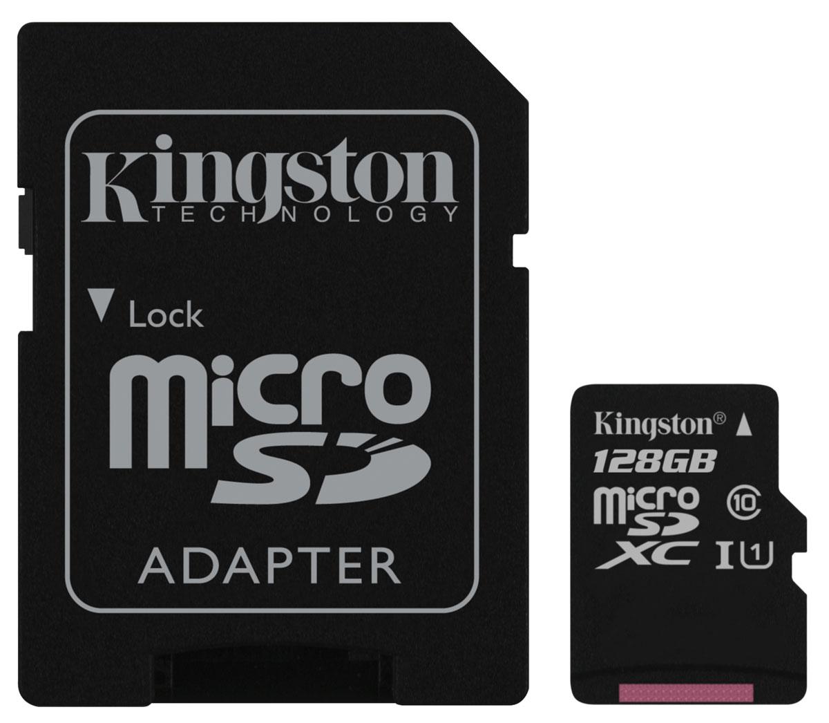 Kingston microSDXC Class 10 UHS-I 128GB карта памяти с адаптеромSDC10G2/128GBКарты microSDXC от Kingston позволяют хранить большие объемы музыки, видео, изображений, игр в современных мобильных устройствах. Данная модель относится к 10 скоростному классу, т.е. максимальная скорость передачи данных составляет 10 МБ/с.По размерам карты microSDXC совпадают с картами microSD, но совместимы только с устройствами, поддерживающими стандарт microSDXC. Карты microSDXC можно использовать с адаптером как полноразмерные карты /SDXC.Внимание: перед оформлением заказа, убедитесь в поддержке вашим электронным устройством карт памяти данного объема.