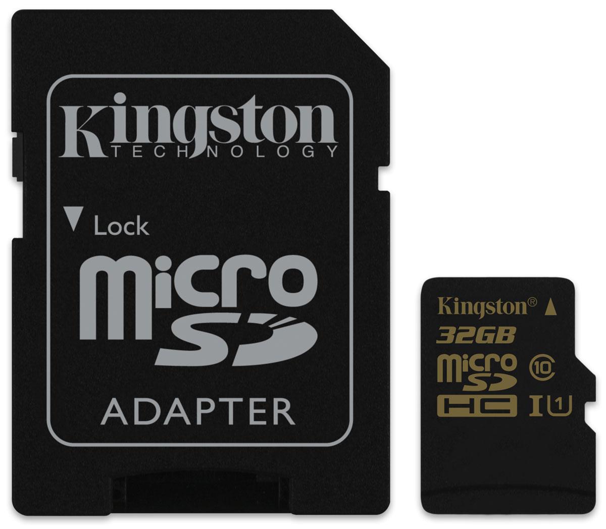 Kingston microSDHC Class 10 UHS-I 32GB карта памяти с адаптеромSDCA10/32GBКарта памяти Kingston microSDHC Class 10 UHS-I обеспечивает скорость чтения 90 МБ/с и записи 45 МБ/с; она считывает до 9 раз быстрее и записывает до 4,5 раза быстрее, чем стандартные карты памяти microSDHC Class 10. Технология UHS-I U1 позволяет снимать видео в формате Full HD, трехмерное видео и прямые трансляции без задержек, а также выполнять серийную съемку с помощью телефона. Более высокие минимальные скорости записи обеспечивают высокое качество видео без рывков и быструю передачу данных, особенно при использовании устройств чтения карт памяти с интерфейсом USB 3.0 компании Kingston. Карты памяти Kingston microSDHC Class 10 UHS-I позволяют записывать больше видео без замены карт. На карте памяти можно хранить до 80 минут видео (48 Мбит/с), до 28 сжатых видео формата MP4 или до 8302 файлов MP3, чтобы вы всегда могли брать коллекции видео и музыки с собой в дорогу. Эта универсальная карта памяти водонепроницаема, ударостойка и виброустойчива, имеет защиту от...