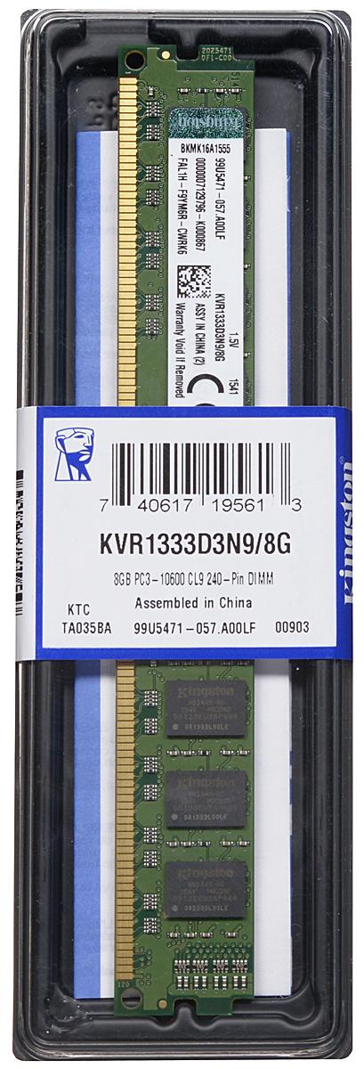 Kingston DDR3 8GB 1333 МГц модуль оперативной памяти (KVR1333D3N9/8G)KVR1333D3N9/8GМодуль оперативной памяти Kingston типа DDR3 обеспечивает увеличенную рабочую частоту (по сравнению с DDR2) при сниженном тепловыделении и экономном энергопотреблении. Напряжение питания при работе составляет 1,5 В. В модуле также имеется 16 чипов с двухсторонним расположением. Объем памяти 8 ГБ позволит свободно работать со стандартными, офисными и профессиональными ресурсоемкими программами, а также современными требовательными играми. Работа осуществляется при тактовой частоте 1333 МГц и пропускной способности, достигающей до 10600 Мб/с, что гарантирует качественную синхронизацию и быструю передачу данных, а также возможность выполнения множества действий в единицу времени. Параметры тайминга 9-9-9 гарантируют быструю работу системы. ValueRAM Kingston - это модули памяти, изготовленные в соответствии с отраслевыми стандартами, обеспечивающие непревзойденную производительность и отличающиеся легендарной надежностью Kingston.