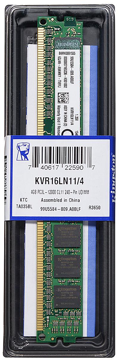 Kingston DDR3L 4GB 1600 МГц модуль оперативной памяти (KVR16LN11/4)KVR16LN11/4Модуль оперативной памяти Kingston типа DDR3L обеспечивает увеличенную рабочую частоту (по сравнению с DDR2) при сниженном тепловыделении и экономном энергопотреблении. Напряжение питания при работе составляет 1,35 В. В модуле также имеется 8 чипов с односторонним расположением. Объем памяти 4 ГБ позволит свободно работать со стандартными, офисными и профессиональными программами, а также современными нетребовательными играми. Работа осуществляется при тактовой частоте 1600 МГц и пропускной способности, достигающей до 12800 Мб/с, что гарантирует качественную синхронизацию и быструю передачу данных, а также возможность выполнения множества действий в единицу времени. Параметры тайминга 11-11-11 гарантируют быструю работу системы. ValueRAM Kingston - это модули памяти, изготовленные в соответствии с отраслевыми стандартами, обеспечивающие непревзойденную производительность и отличающиеся легендарной надежностью Kingston.