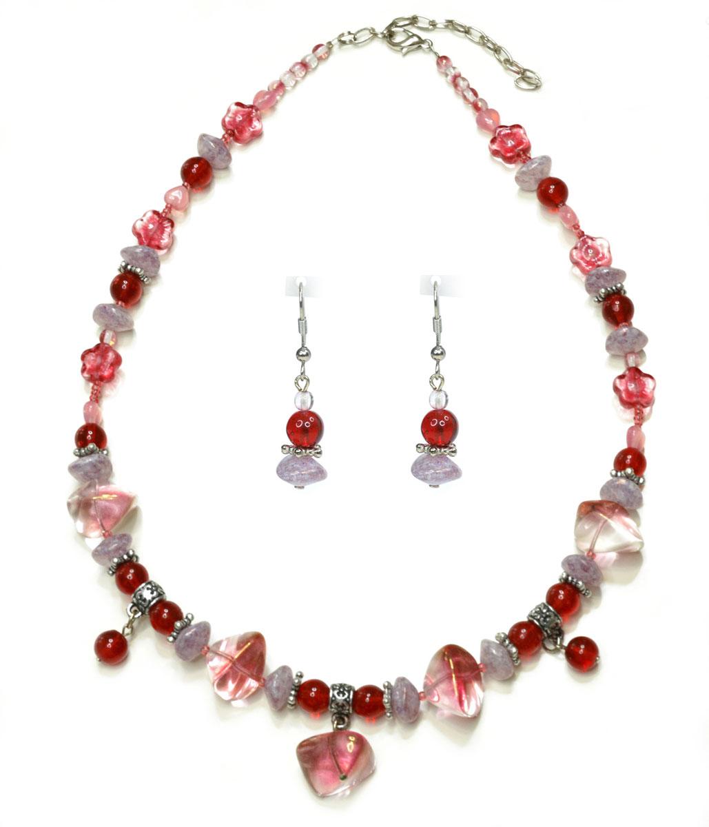 Комплект украшений Bohemia Style: бусы, серьги, цвет: розовый, сиреневый, красный. 1248 4046 07 1248 4046 07 бусы, серьги