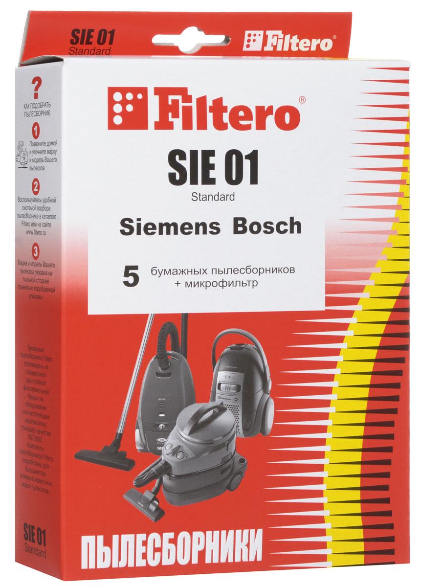 Filtero SIE 01 Standard пылесборник (5 шт)SIE 01 (5) StandardОдноразовые бумажные мешки для пылесосов Filtero SIE 01 Standard сделаны из высококачественной многослойной фильтровальной бумаги, которая пропускает воздух, но задерживает даже самые маленькие частицы пыли. Бумажные мешки для пылесосов защищают двигатель от основного потока пыли, а, следовательно, и от перегрева вследствие засорения и преждевременного износа. Они предназначены для одноразового использования и прекрасно подходят для уборки в больших помещениях. Пылесборники подходят для следующих моделей пылесосов: SIEMENS VS 10000 - VS 10999 Super VS 50000 - VS 59999 Super VS 69000 - VS 69999 Super VS 70000 - VS 71999 Super VS 06G0000 - VS 06G9999 Synchropower VS 07G1800 - VS 07G2999 Technopower например: VS 07G1835 Technopower VS 32A00 - VS 33A99 Super E VS 32B00 - VS 33B99 Super E VS 42A00 - VS 42A99 Super S VS 42B00 - VS 42B99 Super S VS 50A00 - VS 59A99 Super XS/Super XXS...