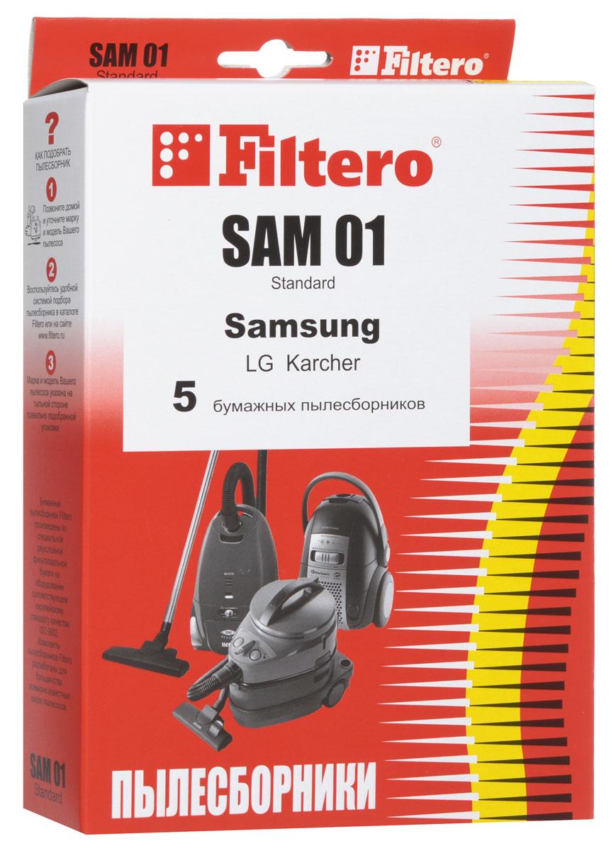 Filtero SAM 01 Standard пылесборник (5 шт)SAM 01 (5) StandardОдноразовые бумажные мешки для пылесосов Filtero SAM 01 Standard сделаны из высококачественной многослойной фильтровальной бумаги, которая пропускает воздух, но задерживает даже самые маленькие частицы пыли. Бумажные мешки для пылесосов защищают двигатель от основного потока пыли, а, следовательно, и от перегрева вследствие засорения и преждевременного износа. Они предназначены для одноразового использования и прекрасно подходят для уборки в больших помещениях. Пылесборники подходят для следующих моделей пылесосов: SAMSUNG VC 50... например: VC 5010 E VC 900E VC 1000E 1300 Home Clean LG V 26... например: V 2620 DE V 982... HITACHI CV 4700 CV 5100 CV-S 880 KARCHER TSC 500, 505, 550, 555 VIGOR HVC 2010