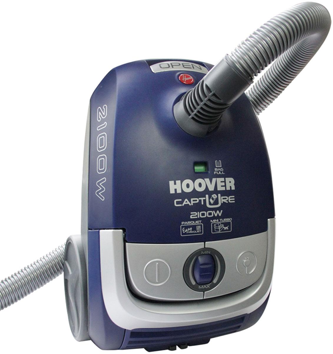 Hoover TCP2120 Capture пылесосTCP2120Hoover TCP2120 Capture - мощный и надежный пылесос, который предназначен для сухой уборки любых помещений. Легкодоступные кнопки управления, прочная телескопическая алюминиевая труба и колеса, вращающиеся на 360 градусов, превратят уборку в удовольствие. Пылесос оснащен пылесборником объемом 2,3 литра со специальным закрывающимся стикером для простой и гигиеничной процедуры замены. О необходимости очищения пылевого мешка вас проинформирует специальный индикатор. Помимо основной насадки, в комплект пылесоса Hoover TCP2020 входит щелевая насадка для очистки труднодоступных мест, турбо-щетка, щеточка для пыли 2 в 1 и специальная насадка для паркета Easy Parquet. Выходной микрофильтр задерживает мельчайшие частички пыли, делая воздух в комнате свежее и чище, что важно для семей с детьми и аллергиков.