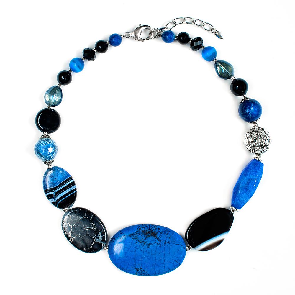 """Колье Selena """"Роман с камнем. Ночной Рио"""", цвет: антрацитовый, синий, черный. 10099011 Selena Селена"""