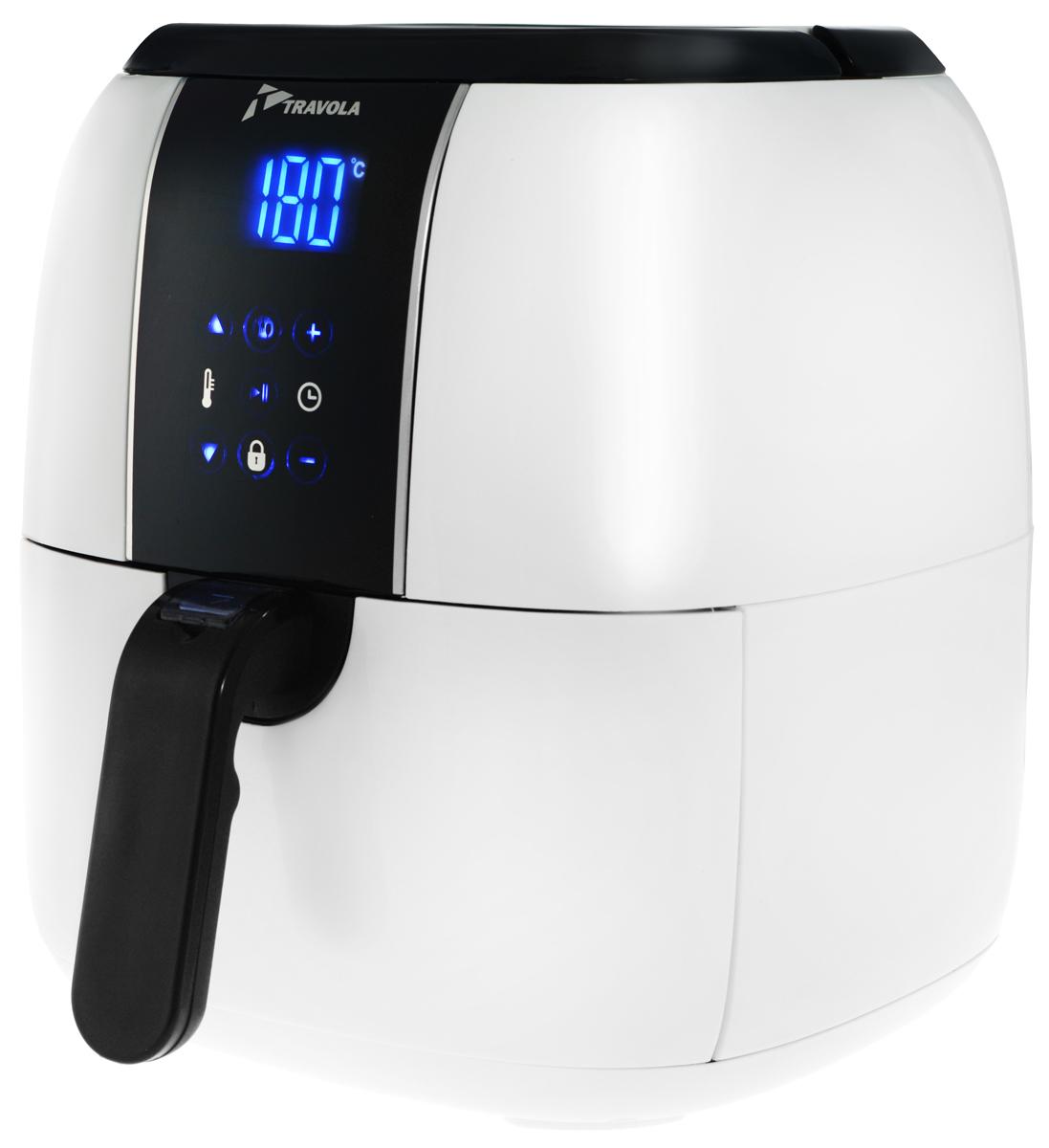 Travola, White аэрогрильAFE02B_whiteАэрогриль Travola - это легкий и быстрый способ приготовить вкусные и полезные блюда. Благодаря циркуляции горячего воздуха вы можете готовить разнообразную пищу, используя минимальное количество масла. Аэрогриль оснащен съемным контейнером. Встроенный таймер на 60 минут позволяет установить время приготовления. Вы можете регулировать температуру для приготовления пищи в диапазоне 60°С до 200°С. Сенсорная панель управления дает возможность легко выбрать нужную вам программу. Аэрогриль Travola оборудован предохранительным выключателем. При извлечении поддона из аэрогриля во время его работы, устройство прекращает нагрев, а таймер автоматически переключается на паузу, пока поддон не будет помещен назад. Программы: 01 - Замороженная жареная картошка (200°С, 16 минут) 02 - Жареная картошка по-домашнему (200°С, 18 минут) 03 - Стейк (180°С, 15 минут) 04 - Куриные ножки (180°С, 20 минут) 05 - Рыба (200°С, 12 минут) 06 -...