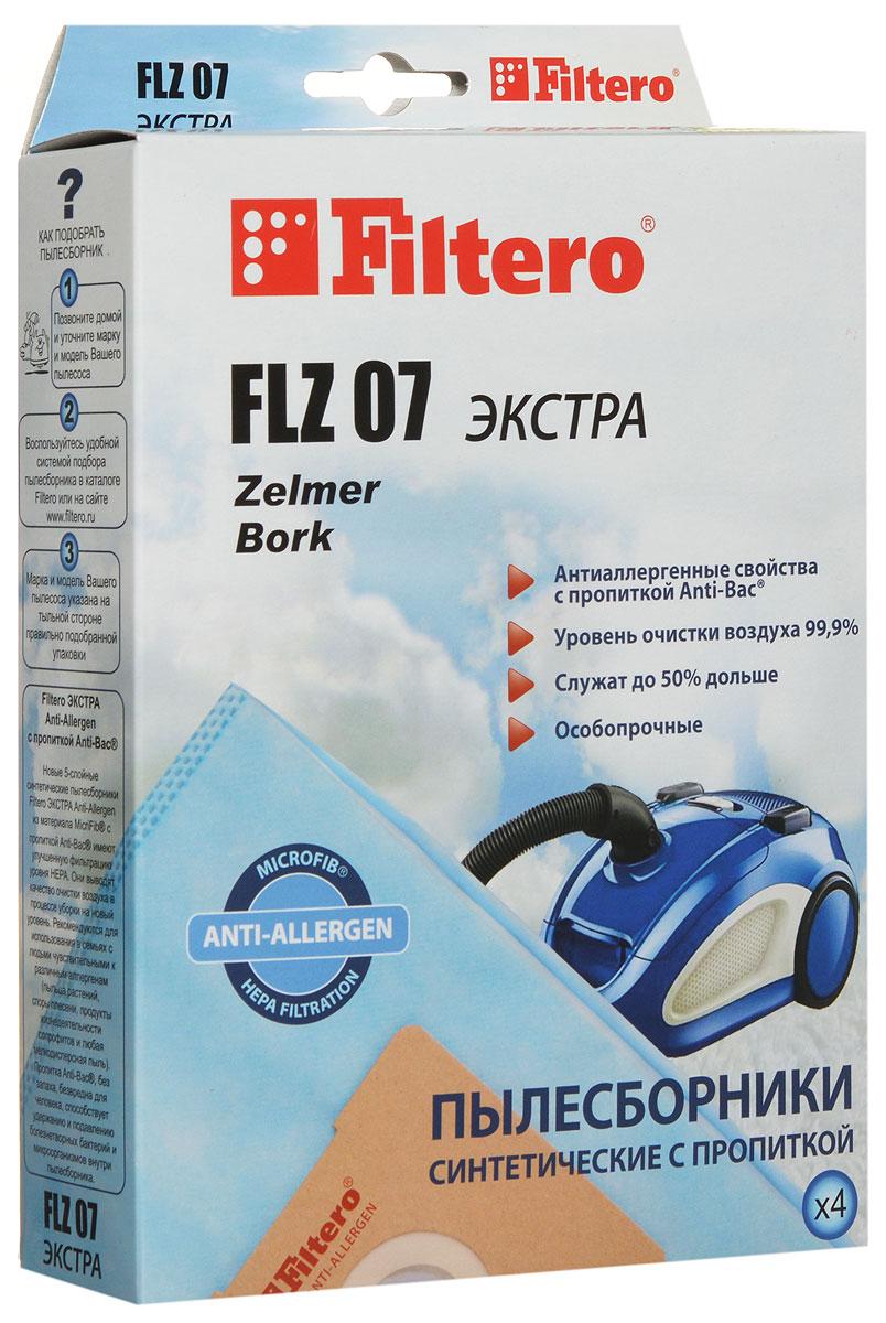 Filtero FLZ 07 Экстра пылесборник (4 шт)FLZ 07 (4) ЭКСТРАМешки-пылесборники Filtero FLZ 07 произведены из синтетического микроволокна MicroFib с антибактериальной пропиткой Anti-Bac. Очень прочные, они не боятся острых предметов и влаги, собирают больше пыли (до 50%) и обеспечивают уровень очистки воздуха 99,9%, а также задерживают бактерии и препятствуют их распространению. При этом мощность всасывания пылесоса сохраняется в течение всего периода службы пылесборника.Пылесборники Filtero FLZ 07 ЭКСТРА подходят для следующих моделей пылесосов: ZELMER: 321.0 Elf, 321.5 Elf, 321.6 Elf, 322.0 Elf Bonus, 322.5 Elf Bonus, 322.6 Elf Bonus, 323.0 Elf 2, 323.5 Elf 2, 400.0 Meteor 2, 400.5 Meteor 2, 450.0 Odyssey, 819.0 Wodnik Duo Plus, 819.5 Wodnik Duo Plus, 829.0 Aquos, 829.5 Aquos, 919.0 Aquawelt, 919.5 Aquawelt, 1500.0 Orion, 1500.5 Orion, 1600.0 SP, ST Syrius, 1600.3 HQ, HT Syrius, 2010.0 Cobra Plus, 2010.5 Cobra Plus, 2500.0 Orion Max, 2500.5 Orion Max, 2700.0 Clarris, 2750.0 Clarris Twix, 3000.0 Magnat, 3000.5 Magnat, 4000 SP, ST Jupiter, 5000.0 Solaris HP, HT, 5000.3 Solaris HQ, HT, 5500.0 HT Solaris Twix; BORK: VC 8718 SI, VC 8818 BL.