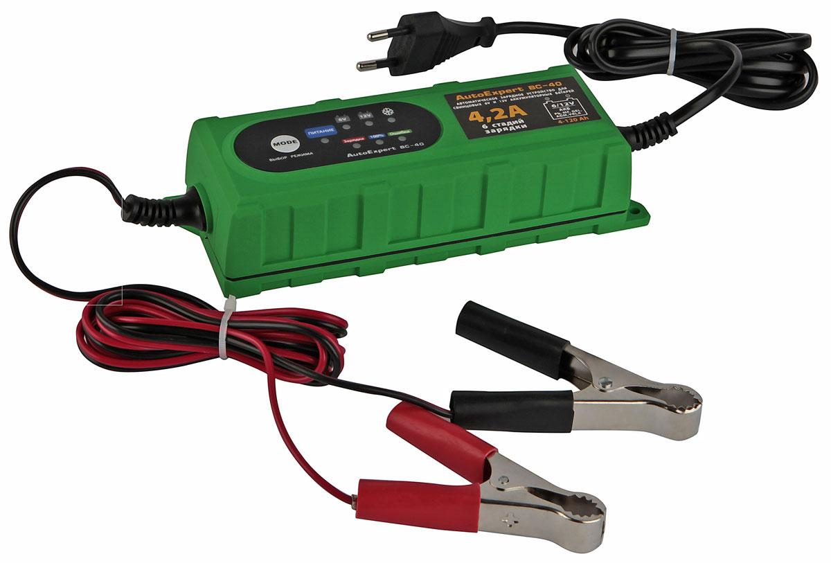 AutoExpert BC 40, Green зарядное устройство для АКБ автомобиля2012506200400AutoExpert BC 40 - компактное зарядное устройство для обслуживания и зарядки всех типов 12 вольтовых и 6 вольтовых свинцовых аккумуляторных батарей, используемых в автомобилях и мототехнике. Функциональные особенности: Полностью автоматическая работа Микропроцессорное управление LED индикация Совместимость со всеми типами свинцово-кислотных АКБ, включая необслуживаемые Защита от перегрева, перегрузки, неверного подключения, короткого замыкания Влагостойкий корпус Дополнительно: Режим зарядки: 6 стадий, полностью автоматический Температура использования: -10С…+45 °С Емкость заряжаемой батареи: 1,2-120 Ач Макс. ток, А: 4,2 Выходное напряжение, В: 7,3/14,4-14,7 Особенности: Защита от короткого замыкания, Защита от перегрева, Защита от перегрузки по току