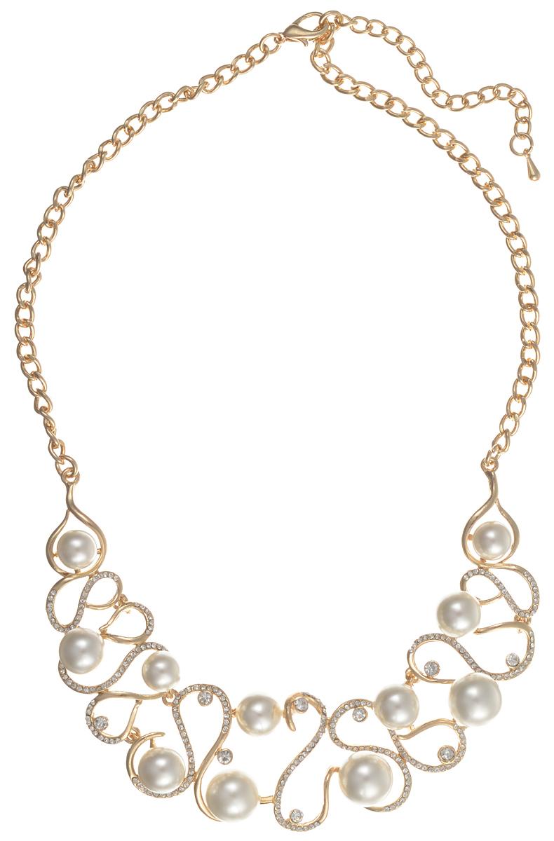 Комплект украшений Taya: колье, серьги, цвет: золотистый, белый. T-B-10223 T-B-10223-SET-GL.PEARL