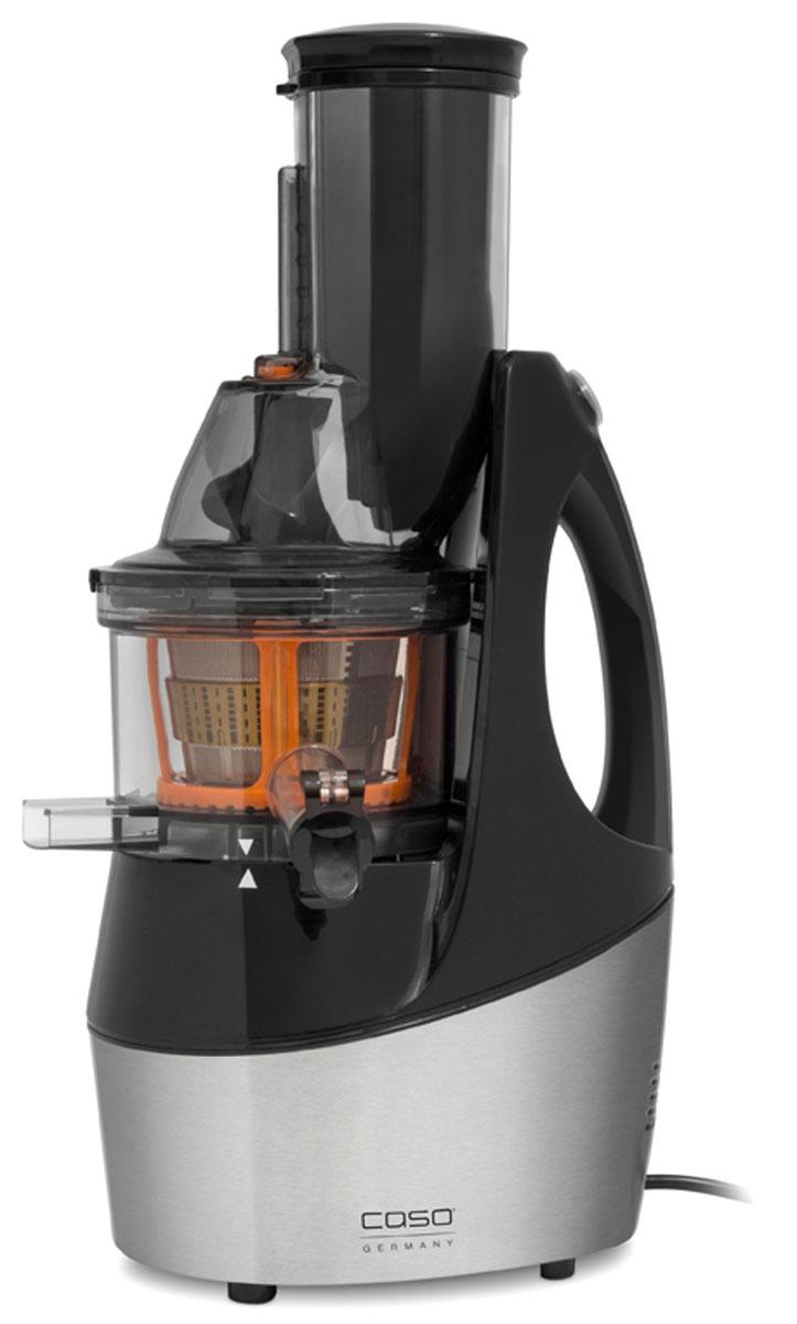 CASO SJW 450, Black Silver соковыжималкаSJW 450Высококачественная соковыжималка CASO SJW 450 идеально подойдет вашей кухне благодаря современному и очень красивому дизайну. При отжиме сока шнеком вы сохраняете в нем больше витаминов и полезных веществ, а также оптимизируете технологию получения сока.Шнековая соковыжималка с широкой загрузочной горловиной (85 мм)Готовьте соки из цельных фруктов и овощей без измельченияОтжимает сок из мягких плодов (ягоды, овощи), орехов, травВысокое расположение носика позволяет собирать сок сразу в стаканУдобная ручка для переноскиВысокий процент выхода сокаМикро-фильтр из нержавеющей сталиТихая работа двигателя60 оборотов в минутуЛегко разбирается для чисткиЗащита от неправильной сборкиВ комплекте 2 насадки-микрофильтра для сорбета и смузи