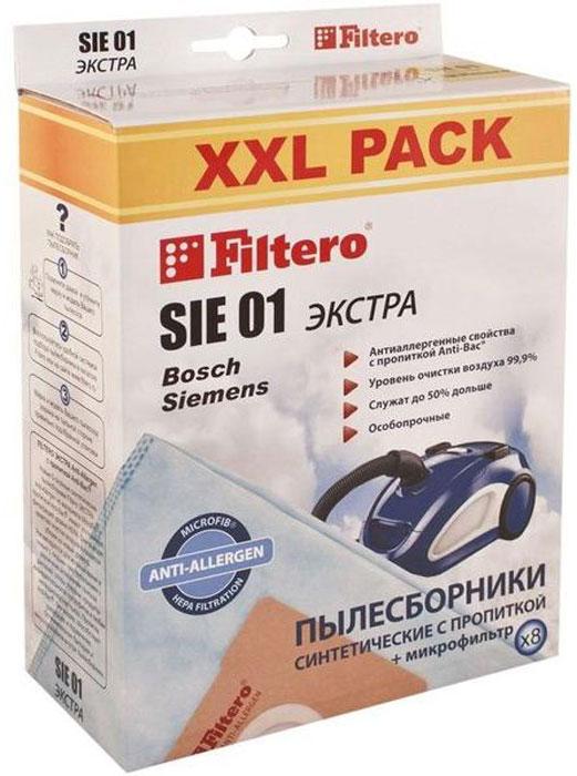 Filtero SIE 01 XXL Pack Экстра пылесборник (8 шт)SIE 01 (8) XXL PACK ЭКСТРАПылесборники Filtero SIE 01 XXL Экстра произведены из синтетического микроволокна MicroFib с антибактериальной пропиткой Anti-Bac. Очень прочные, они не боятся острых предметов и влаги, собирают больше пыли (до 50%) и обеспечивают уровень очистки воздуха 99,9%, а также задерживают бактерии и препятствуют их распространению. При этом мощность всасывания пылесоса сохраняется в течение всего периода службы пылесборника. Пылесборники подходят для следующих моделей пылесосов: BOSCH BBS 1000 - BBS 1199 Alpha\Solida BBS 2000 - BBS 2299 Alpha BBS 2400 - BBS 2999 Alpha BBS 5000 - BBS 5999 Optima BBS 6310 - BBS 6399 с коробом BBS 7000 - BBS 7999 Compacta BBS 8000 - BBS 8999 Perfecta BSA 2000 - BSA 2999 Solitaire / Speedy / Sphera BSA 3000 - BSA 3999 Sphera BSC 1000 - BSC 1999 Casa / Easy Control / Pro Parquet BSD 2300 - BSD 3099 Sphera BSF 1000 - BSF 1999 Ultra BSF 2190 BSG 2000 Aquaera BSG...
