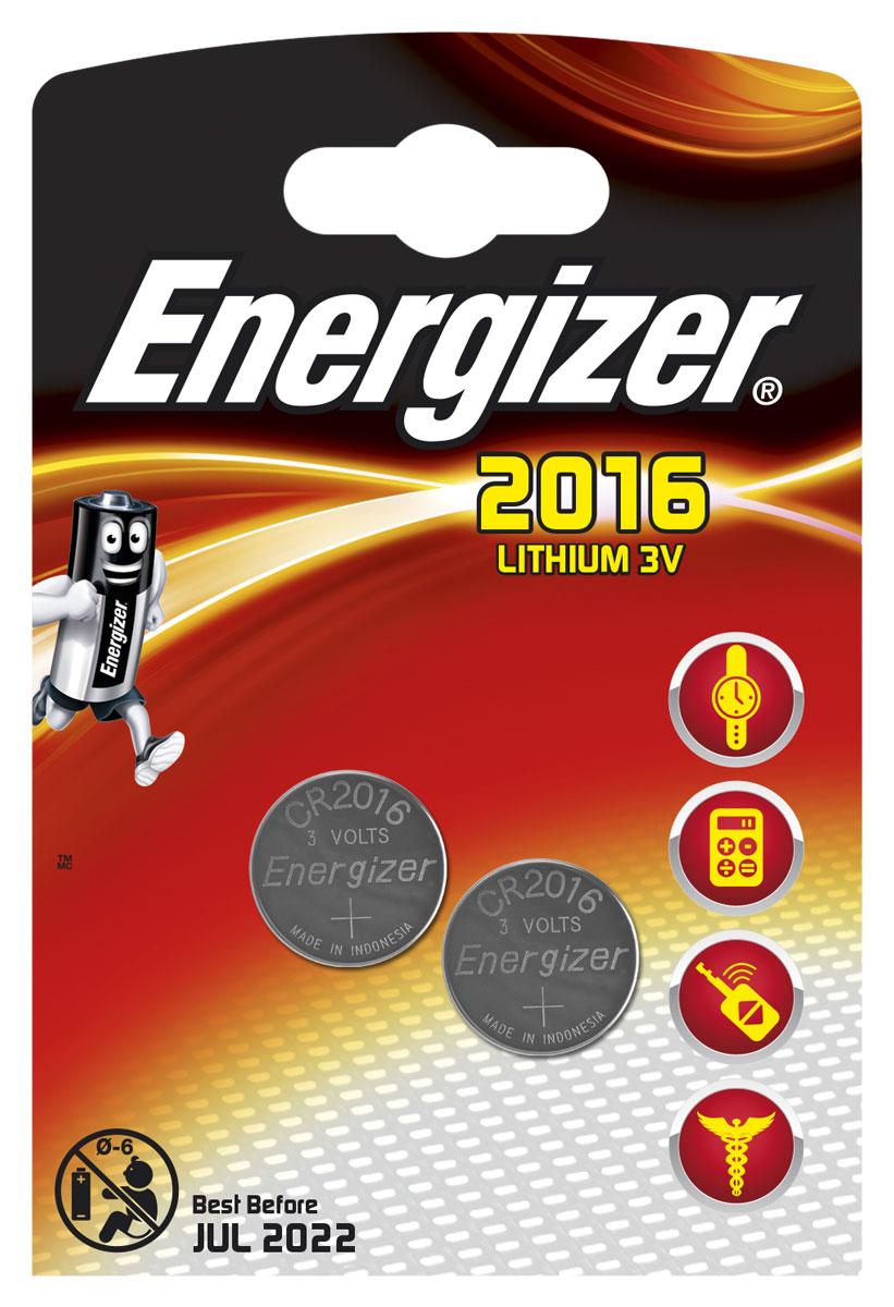 Батарейка Energizer Lithium, тип CR2016, 3V, 2 шт637984/626986/638711Батарейка Energizer Lithium предназначена для электронных устройств. Устанавливается в электронные игры и игрушки, устройства личной гигиены, калькуляторы, электронные ежедневники и книги, системы бесключевого доступа, системы открывания гаражных ворот, цифровые термометры, тонометры и бытовые медицинские приборы.