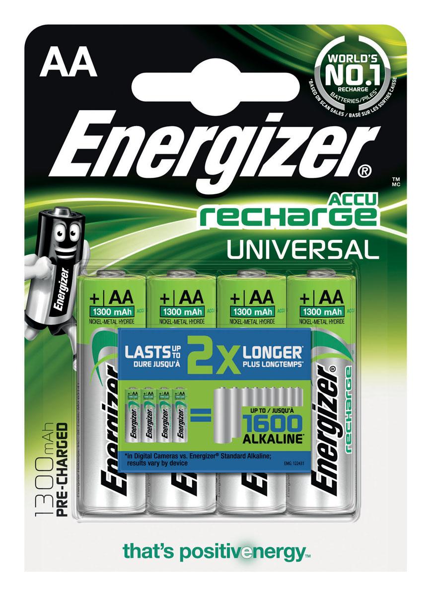 Аккумулятор Energizer Recharge Universal, тип AA, 1300 mAh, 4 шт638590/E300322100Аккумулятор Energizer Recharge Universal - это источник энергии многоразового использования. Предназначены для регулярно используемых устройств, что позволяет вам экономить деньги и производить меньше отходов, меняя батарейки реже. Никель-металлгидридные аккумуляторы работают до 2 раз дольше в цифровых фотокамерах по сравнению с обычными щелочными батарейками Energizer. 4 аккумулятора заменяют до 1600 обычных щелочных батареек Energizer в цифровых фотокамерах, результат зависит от устройства. Для подзарядки аккумуляторов использовать зарядные устройства Energizer или другие зарядные устройства для никель-металлгидридных аккумуляторов. - Аккумуляторы предварительно заряжены. - Длительный срок службы - до 195 цифровых фотографий с одной зарядки. - Выдерживают 1000 циклов заряда, основано на стандартах МЭК. - Работают при температуре от 0°С до +50°С.