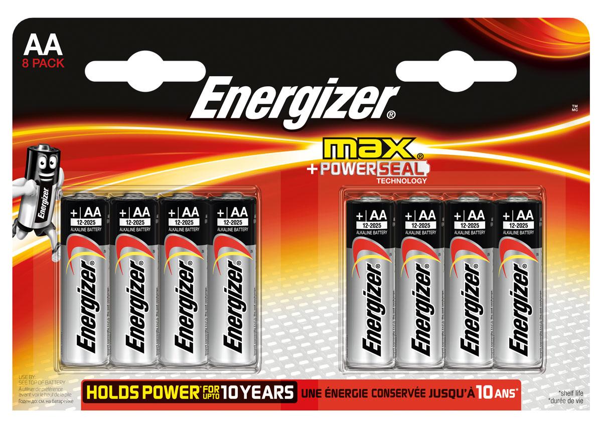 Батарейка Energizer Max, тип АА/LR6, 1,5 V, 8 штE300112400Батарейка Energizer Max - безотказный источник энергии для устройств повседневного пользования. Чаще всего применяется в пультах управления, небольших фонарях, часах, радио. Это первая в мире щелочная батарейка без ртути. Работает до 45% дольше, держит заряд до 10 лет. Стандартные щелочные батарейки Energizer защищены от протеканий.