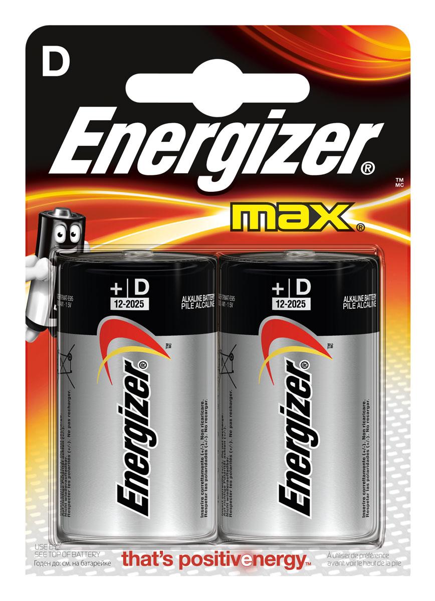 Батарейка Energizer Max, тип D/LR20, 1,5 V, 2 штE300129200Батарейка Energizer Max - безотказный источник энергии для устройств повседневного пользования. Это первая в мире щелочная батарейка без ртути. Работает до 45% дольше, держит заряд до 10 лет. Стандартные щелочные батарейки Energizer защищены от протеканий. Тип D - самый большой формат пальчиковых батареек.