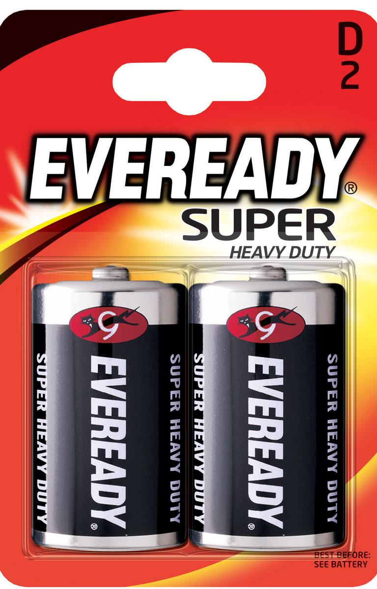 Батарейка солевая Eveready Super Heavy Duty, тип D-R20, 1,5V, 2 шт637087/620467Солевые батарейки Eveready Super Heavy Duty состоят на 100% угольно-цинкового элемента питания. Оптимальны для приборов ежедневного пользования. Защищены от протеканий. Размер батарейки: 6 х 3 см.